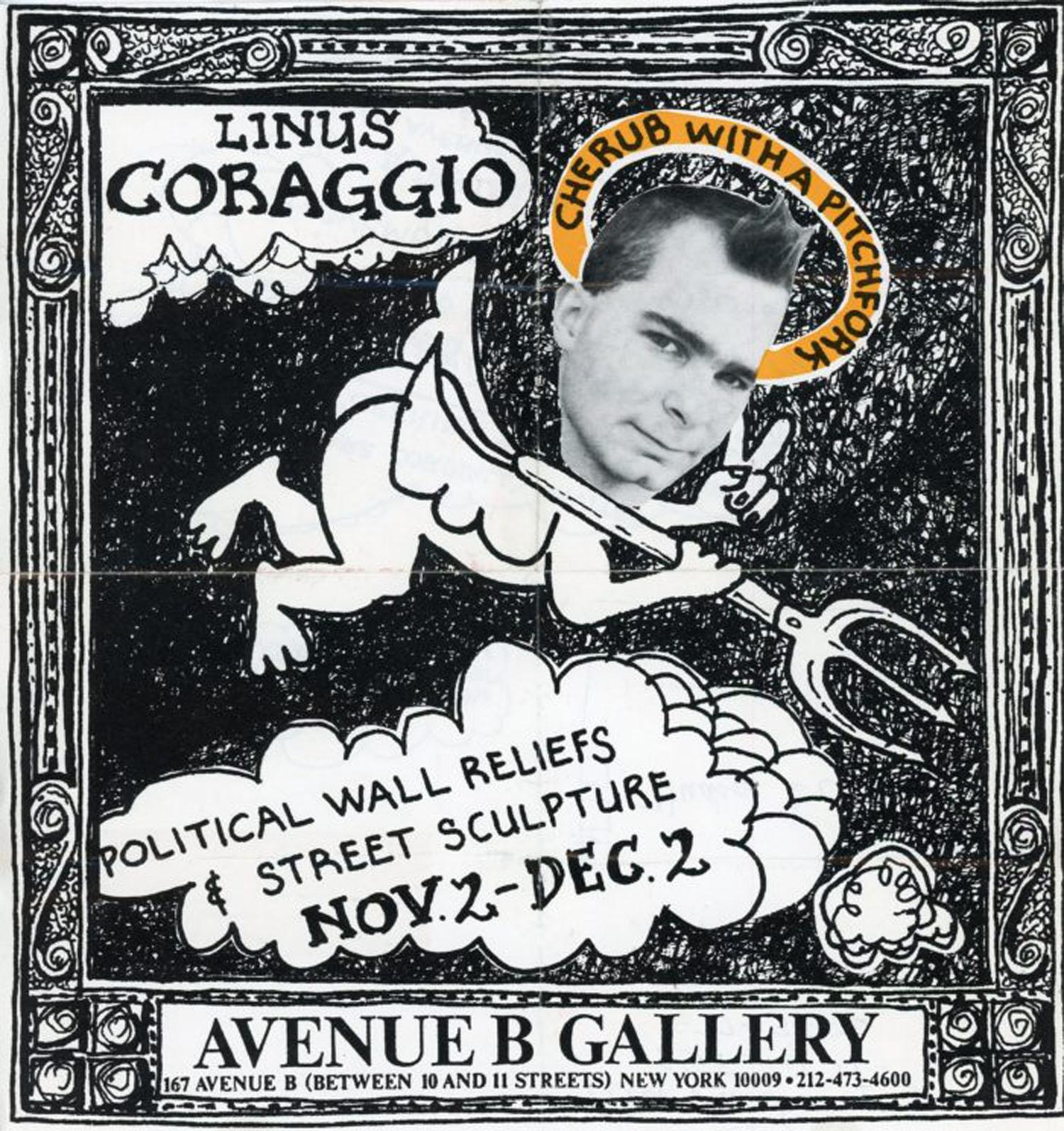 Avenue B Gallery, Linus Coraggio, Cherub With A Pitchfork, Card, 1984