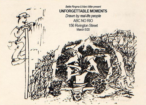 Announcement card for Unforgettable Moments exhibition at ABC No Rio, 1982