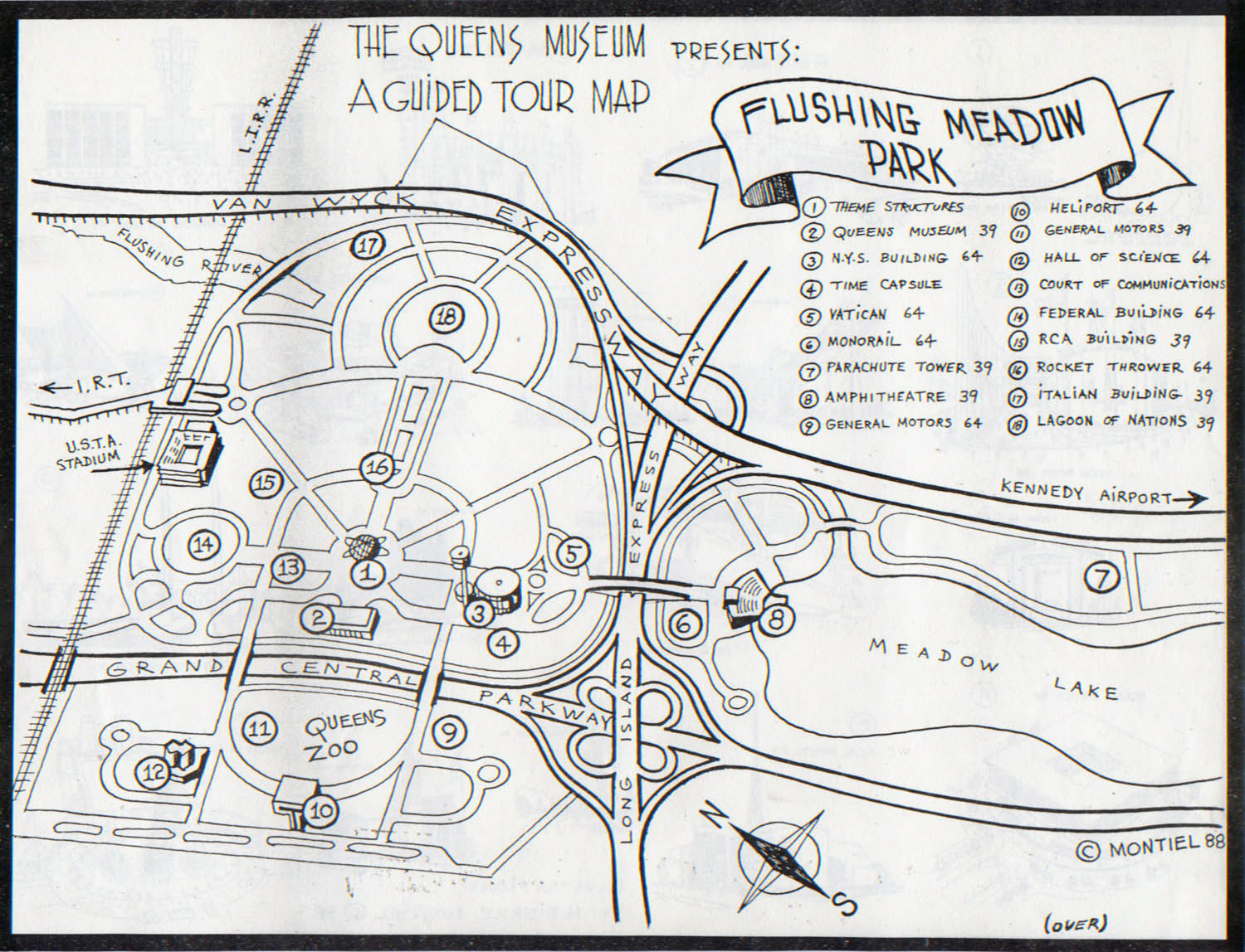Artist and World's Fair enthusiast H. Pierre Montiel created this map of Flushing Meadow Park, and used it to lead tours for the Queens Museum. The museum (#2) is situated among other sites from the New York World's Fairs in 1939 and 1964.