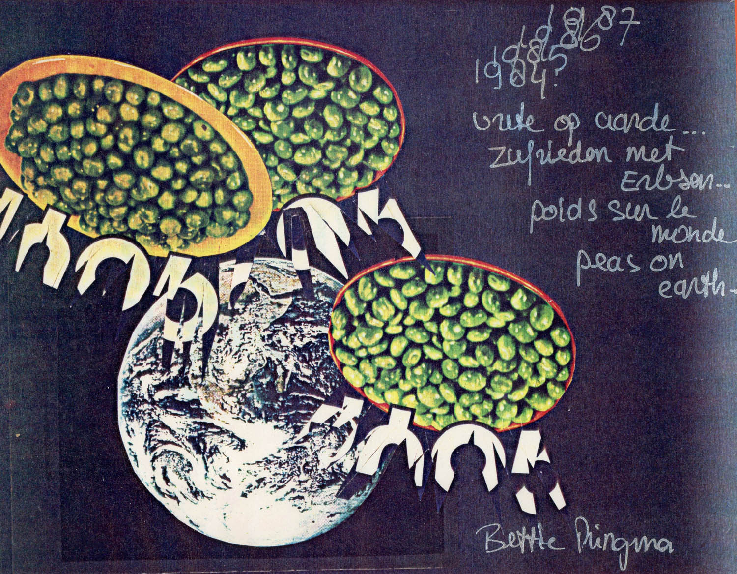 """Peas on Earth"", Color Xerox Collage, 1980"