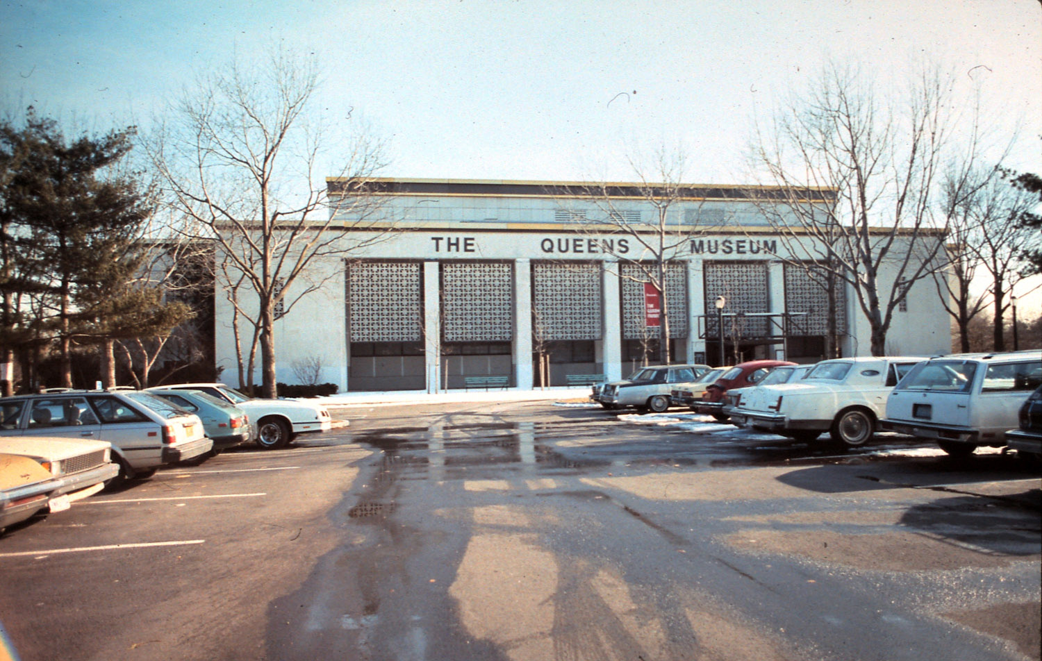 The main entrance to the Queens Museum as seen from the parking lot to the north, 1980s