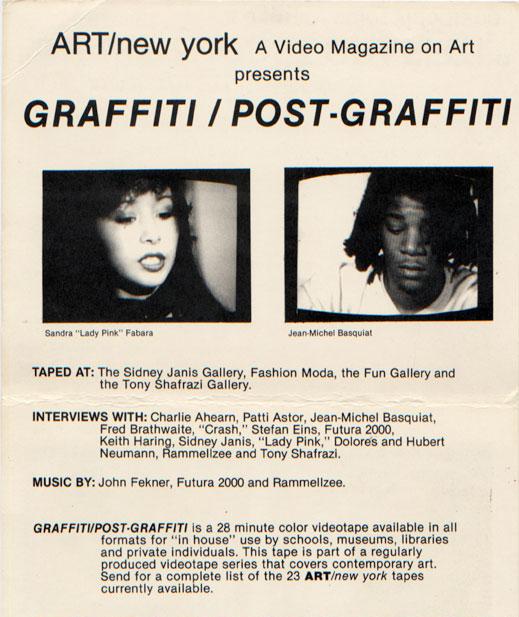 "Promotional brochure for the ART/new york tape ""Graffiti / Post-Graffiti,"" 1984."