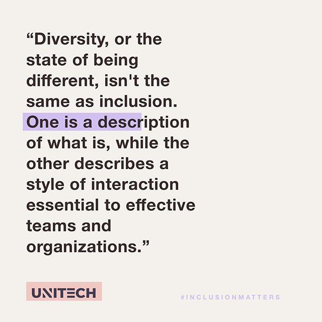 Inclusion is not a matter of political correctness. It is the key to growth.  #inclusionmatters #diversity #unitech #unitechx