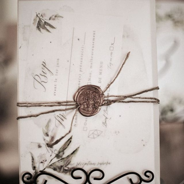 Vellum Paper Wrap, Tree of Life Wax Seal... a simple yet very elegant Wedding Invitation Suite.  Event Planner @lecoeurboheme Venue @aubergesaintantoine Photo @ariannphotographe Stationery Designer @signaturepapeterie