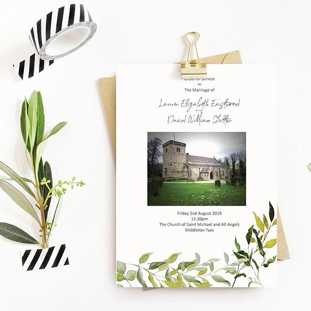 Last part of a complete Custom Wedding Suite we did for Lauren…… This Order of Service Program will be in the form of a little booklet of 8 pages, it includes a picture of the actual Church where the wedding ceremony will take place: The Church of Saint Michael and All Angels, in Middleton Tyas, ENGLAND. For her wedding paperie, the bride wanted greenery details, no flowers and that's what she got.  Dernière pièce de l'ensemble sur mesure de papeterie de mariage pour Lauren…… Ce programme pour la cérémonie comptera 8 pages au total. En page couverture, une photo de l'église où la cérémonie de mariage aura lieu : l'église de Saint Michael and All Angels, à Middleton Tyas, en ANGLETERRE. Pour son mariage, la mariée ne voulait que du vert, pas de fleurs, c'est ce qui a été créé pour elle. #weddingstationery #weddinginvitations #wedding2019 #wedding2020 #calligraphy  #customdesign #organicwedding #mariage2019 #mariage2020 #fairepartmariage #signaturepapeterie #greenerywedding #greeneryinvitation #weddingideas #futurebride #weddingtrends #englandwedding