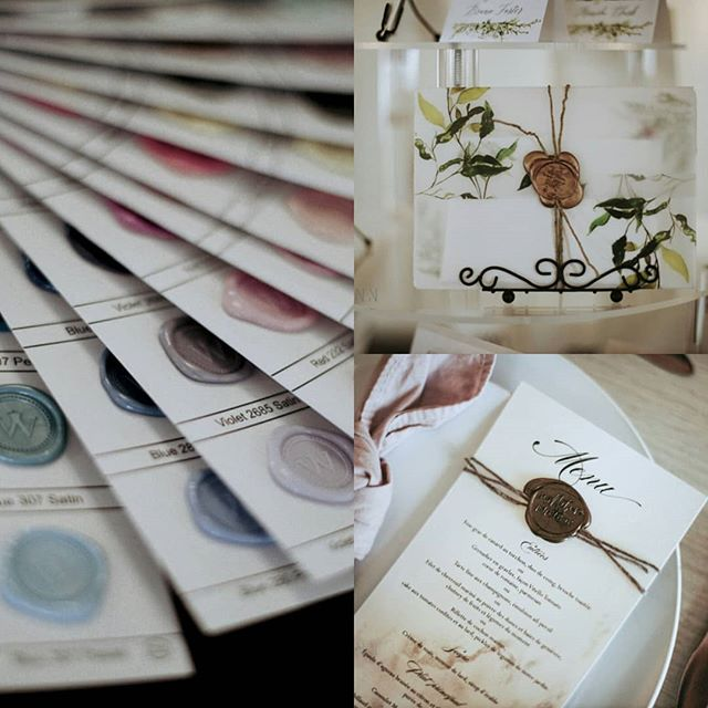 Wax Seals don't always go on the envelopes only…. As a matter of a fact, I do prefer them elsewhere: why not use them as a decorative element for the wedding paperie, to wrap around your entire wedding invitation set or a menu, like it is pictured here.  #organicwedding #handmadepaper #cottonpaper#weddingstationery#weddinginvitations#wedding2019 #wedding2020#calligraphy#customdesign#organicwedding#mariage2019 #mariage2020 #fairepartmariage #signaturepapeterie #greenerywedding #greeneryinvitation #weddingideas #futurebride #weddingtrends