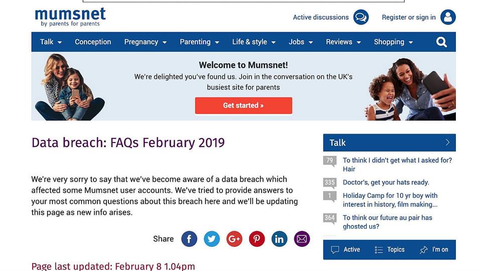 Mumsnet suffers data breach