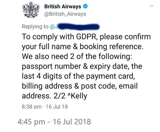 British Airways requests customers post personal data on twitter