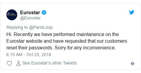 "Eurostar email informing of ""maintenance"""