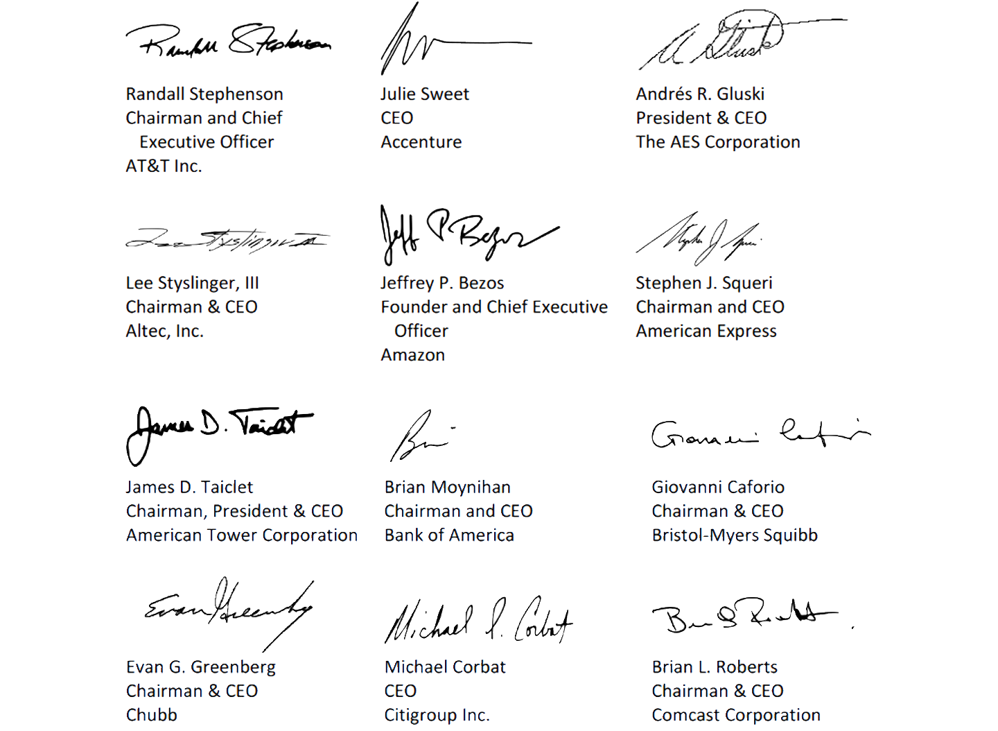 CEOs who signed the open letter include some of the world's largest tech companies