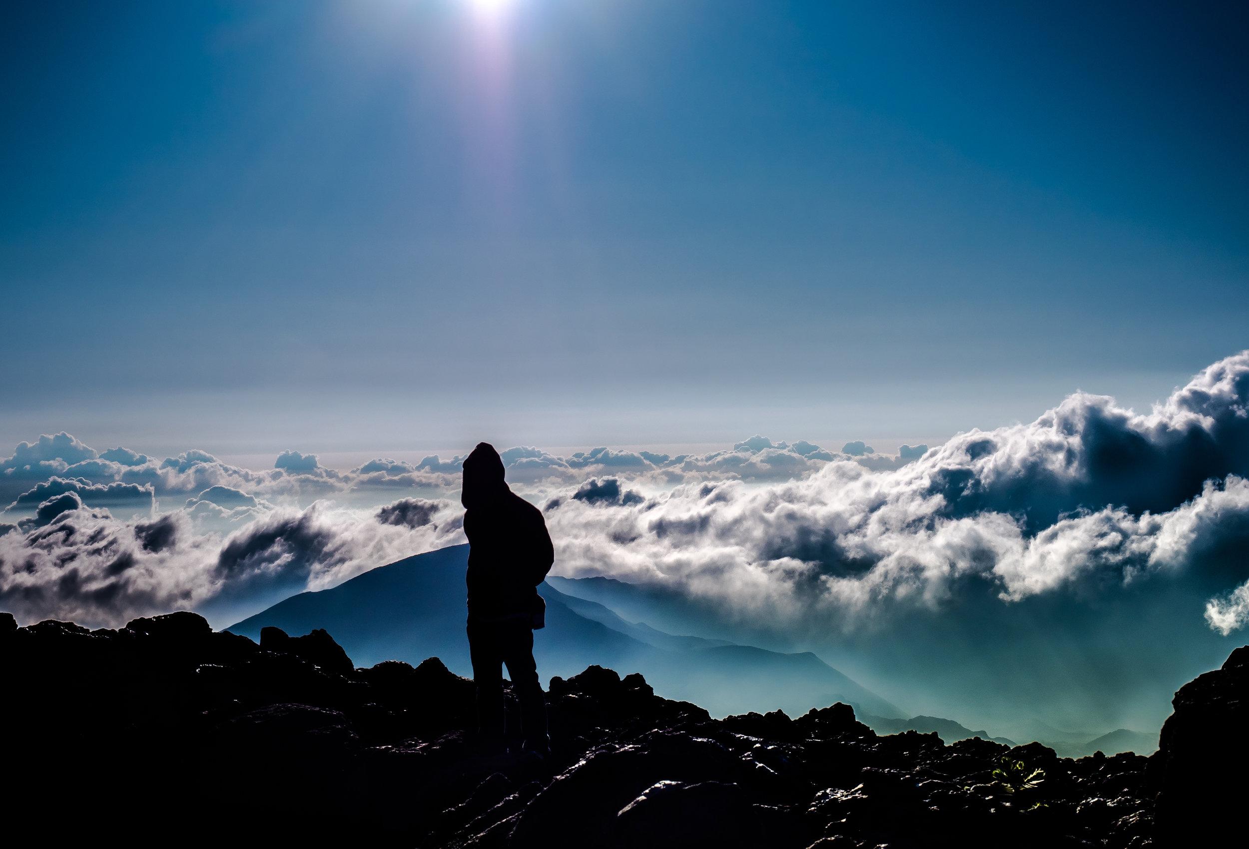 Hiker on Haleakala Summit Maui Hawaii - Seth T. Buckley