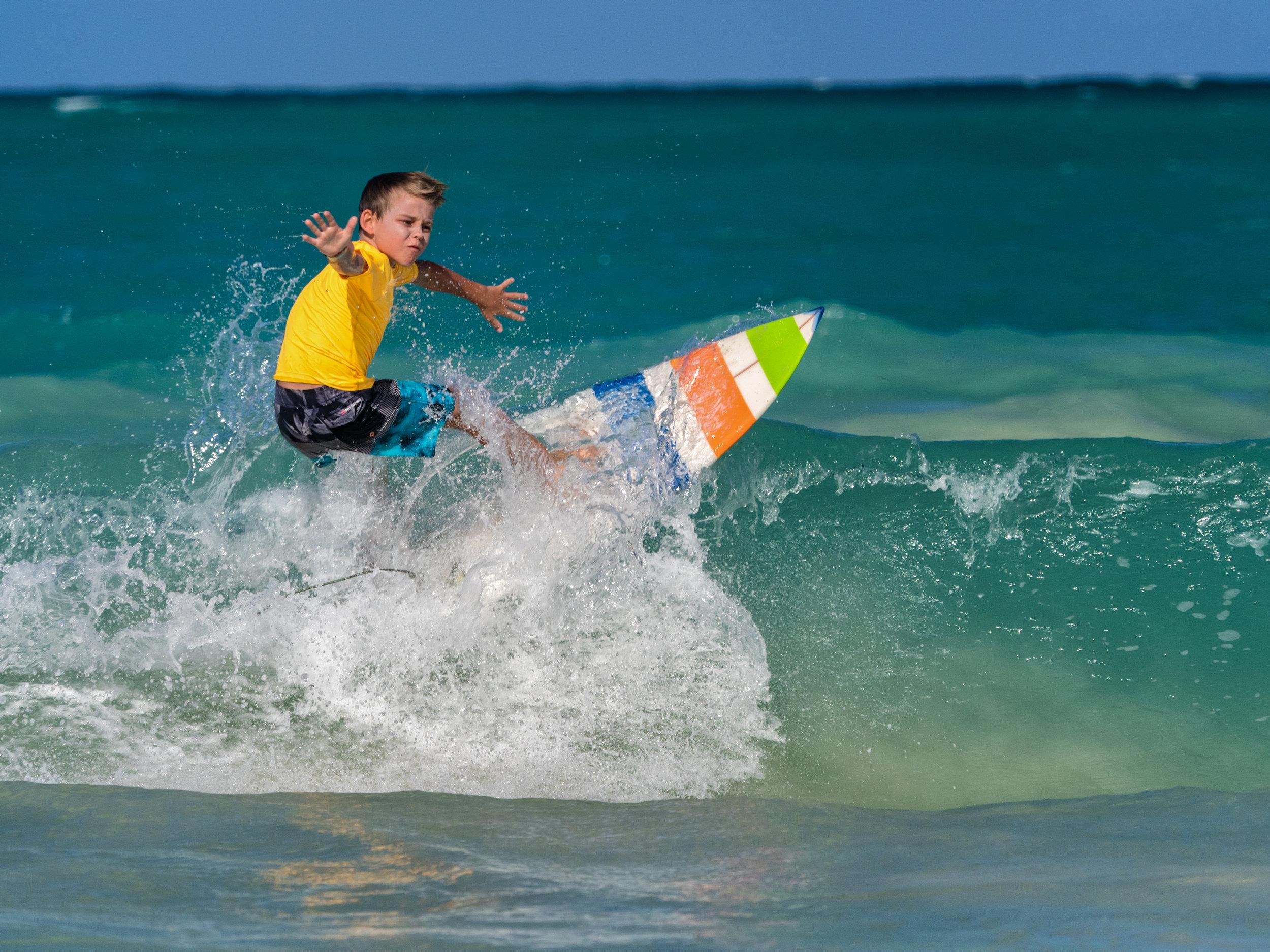 Kid Surfer at Kailua Oahu Hawaii - Seth T. Buckley