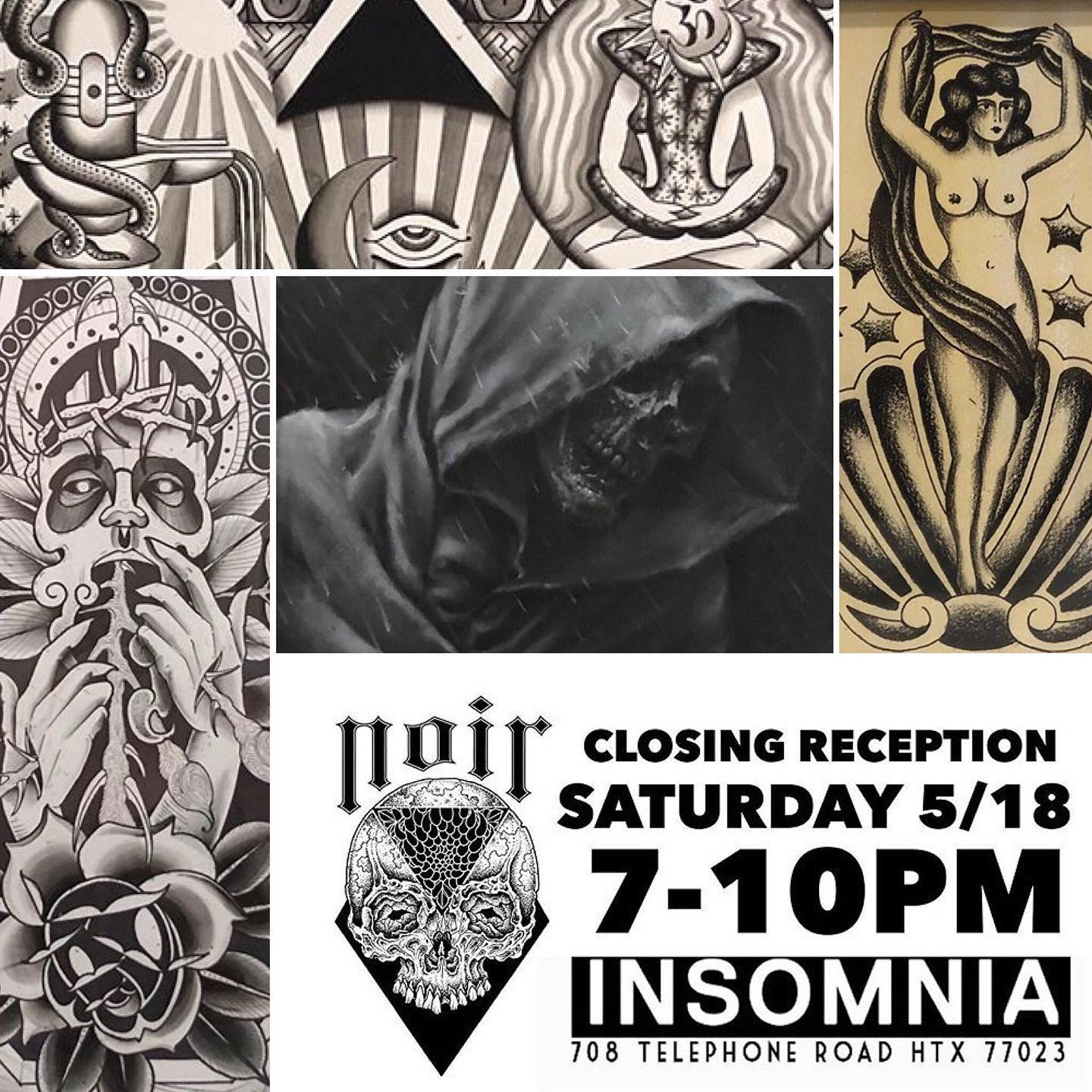 NOIR ART SHOW CLOSING RECEPTION - May 18th, 7:00 pm - 10:00 pm