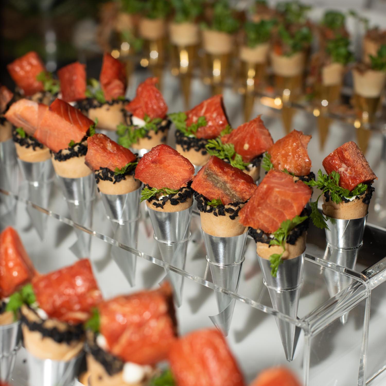 fancy salmon cone appetizers