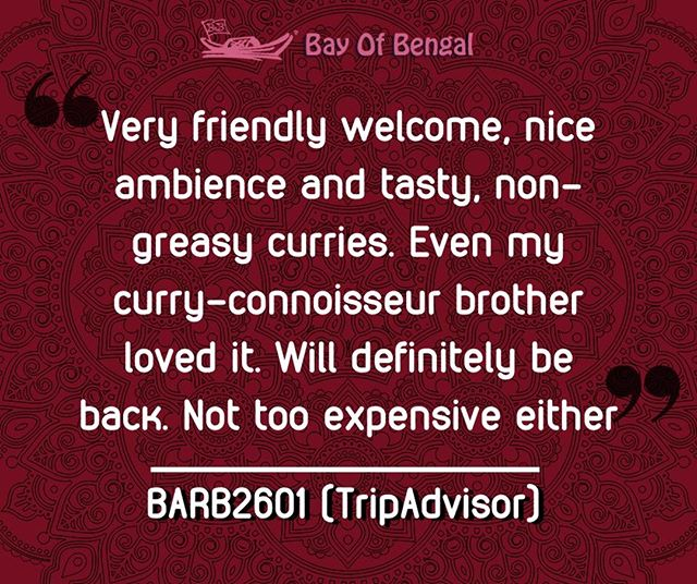 Thank you for lovely review, Barb! ❤️ We hope to see you and your brother again at the Bay of Bengal in Sheffield! 👋 #CustomerReview⠀ .⠀ .⠀ .⠀ .⠀ .⠀ .⠀ #thursdaymood #bestcurry #tripadvisor #customerapproved #goodreview  #bayofbengal #sheffield #Foodie #IndianFood #Instafood #Foodpic #Instagood #Yummyfood #IGfoodie #Foodoftheday #Foodgram #Foodphotography #Foodstyle #DevourPower #Eatstagram #Buzzfeast #Food #Spicyfood #IndianCuisine #Foodiesofindia #foodofindia