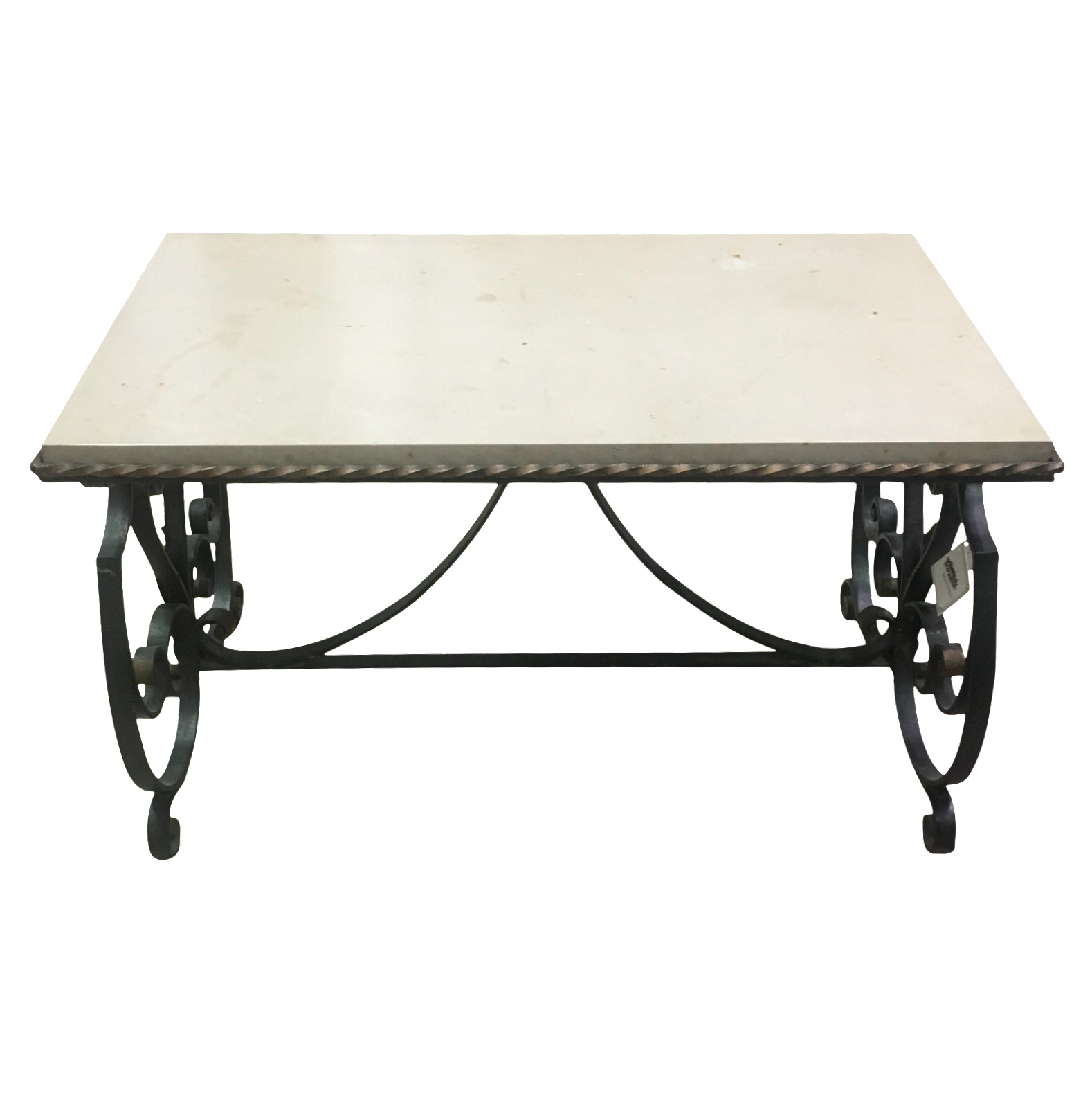 French Marble Top & Iron Base Coffee Table