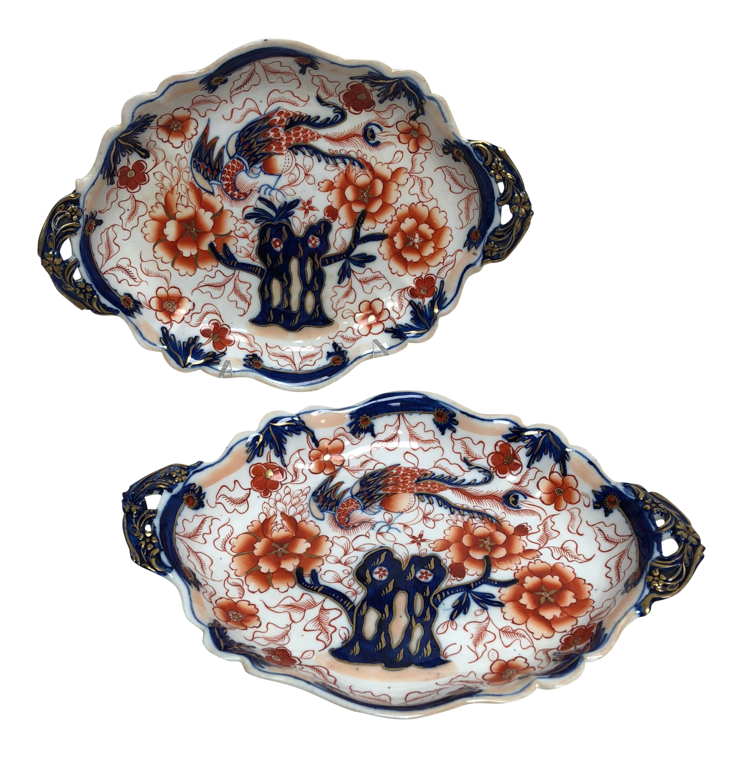 English Imari Style Ironstone Platters - a Pair