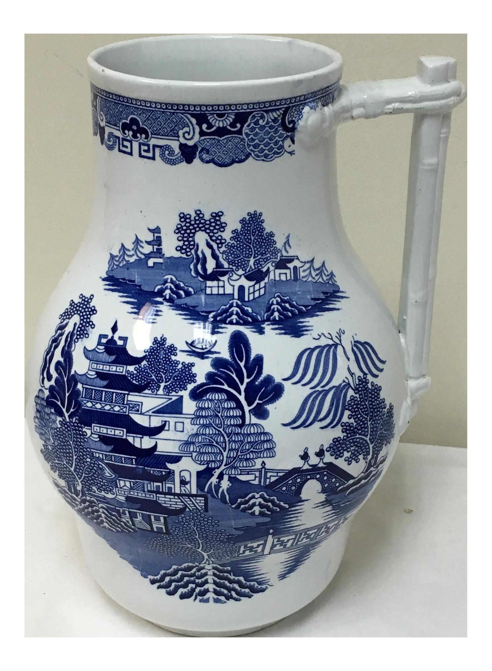 Vintage Blue Willow Vase/ Pitcher