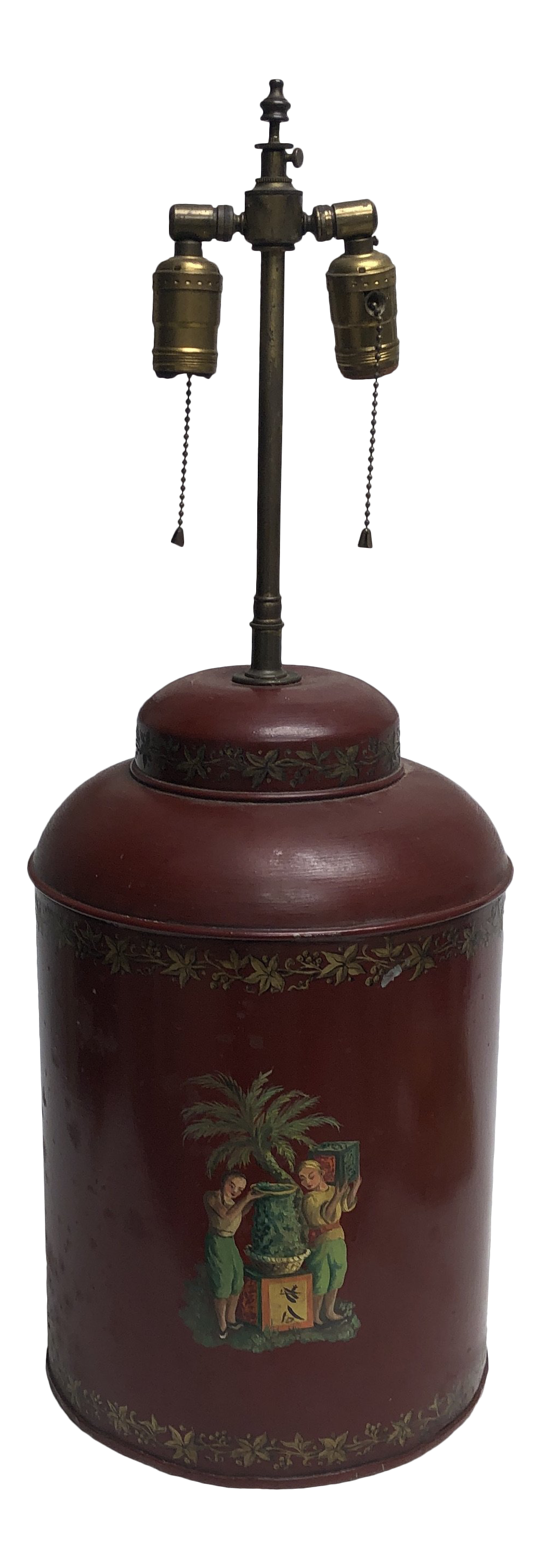 1950s Toleware Painted Metal Canister Lamp