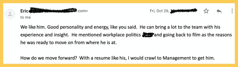 Supervisor's immediate feedback after an interview.