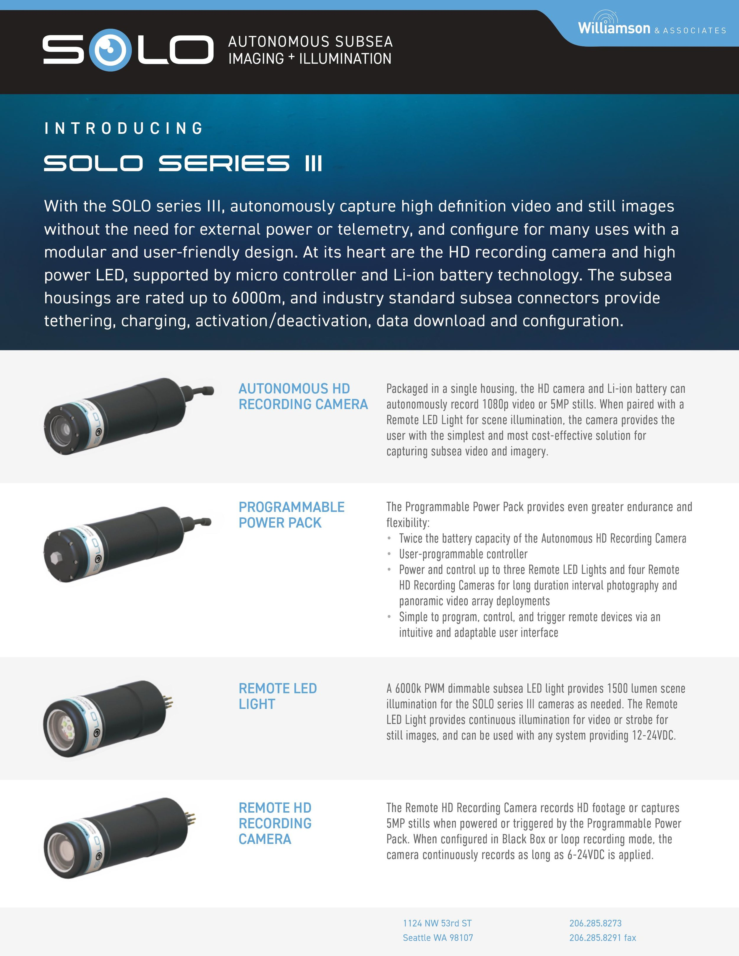 Autonomous Underwater Camera and Light Systems