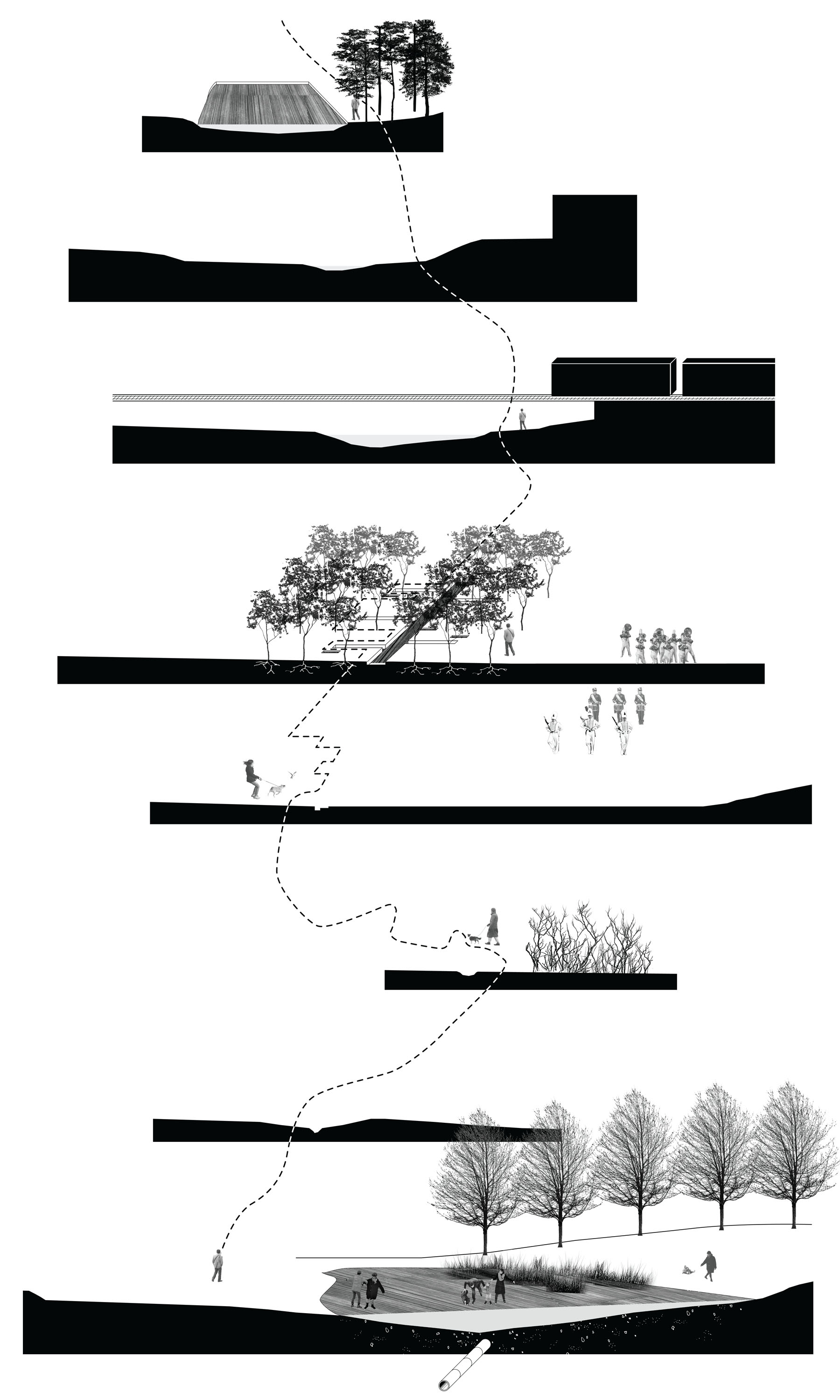 Serial sections of the proposed path along Meadow Creek, which shows the reciprocal interaction of people and water.