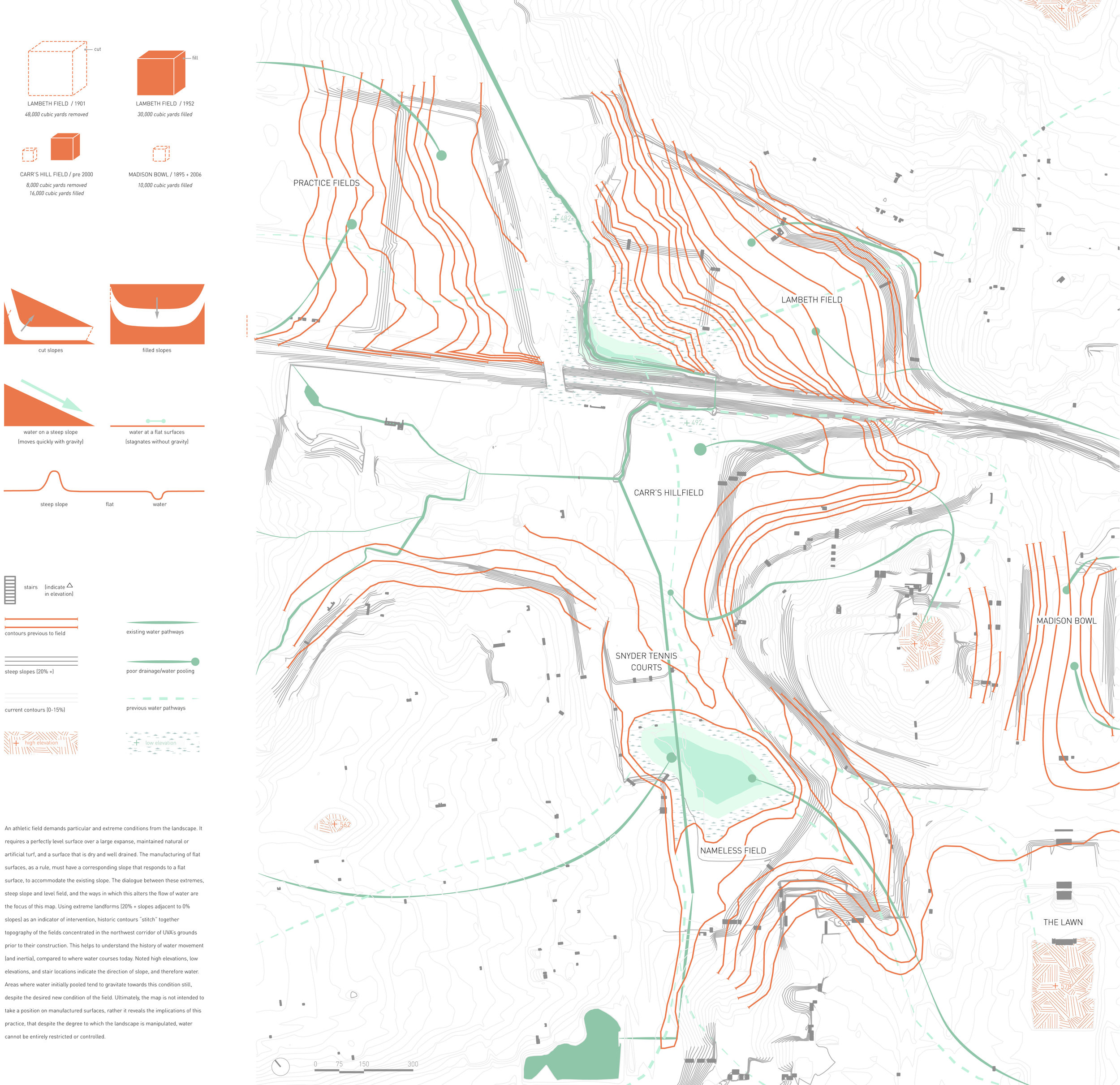 A study of slopes showing the negotiation between historic and contemporary topography and water. Significant alteration of the terrain to accommodate roads, buildings and athletic fields has drastically alter the course of water.