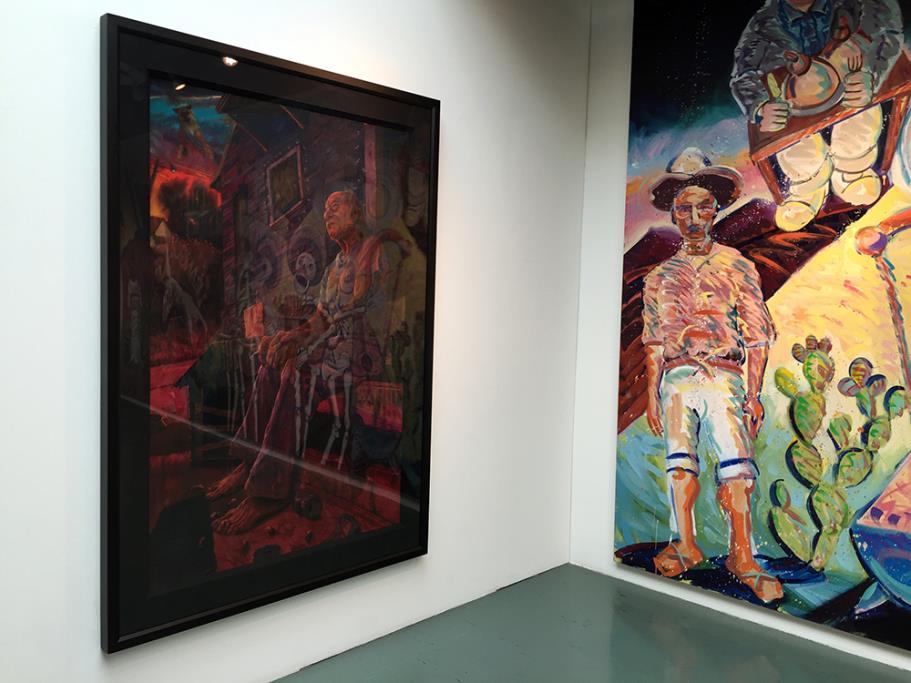 The Death of Wino, 2002 Vincent Valdez pastel on paper (left)