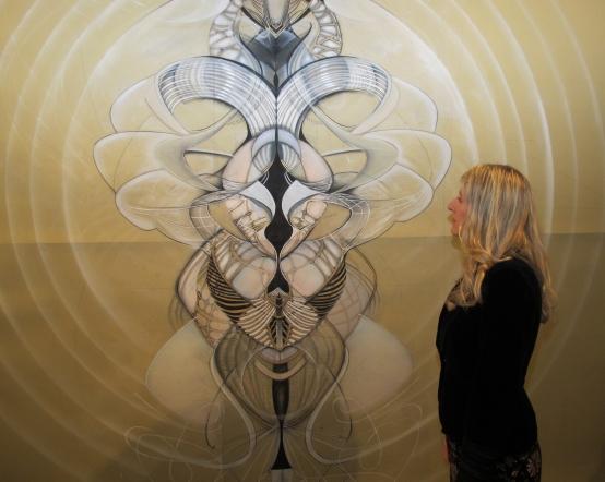 A sense of scale: the artist and her work. Photo by Bondo Wyszpolski