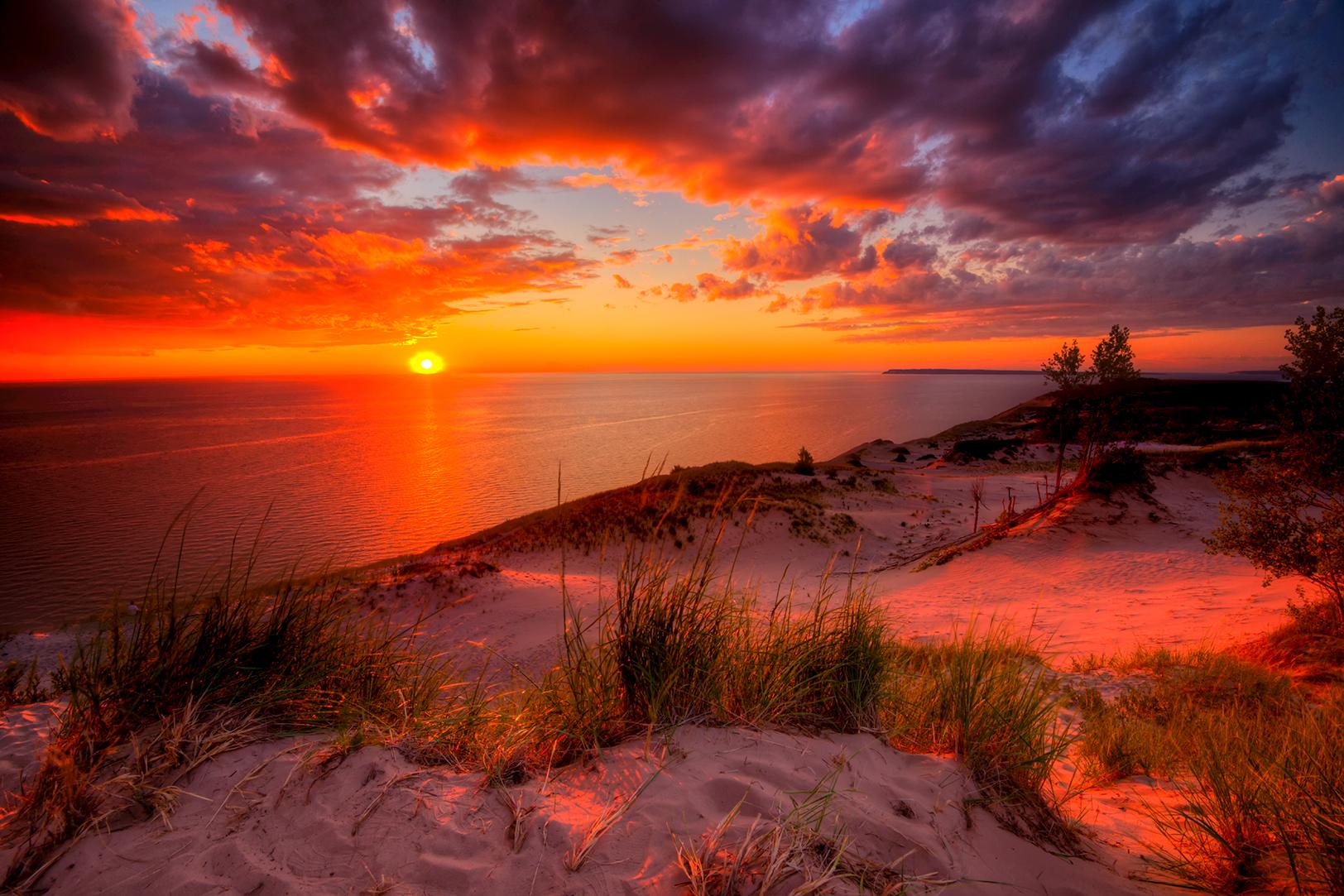 MI15-0632-0611 Dunes Sunset Storm by Aubrieta V Hope Michigan Scenery.jpg