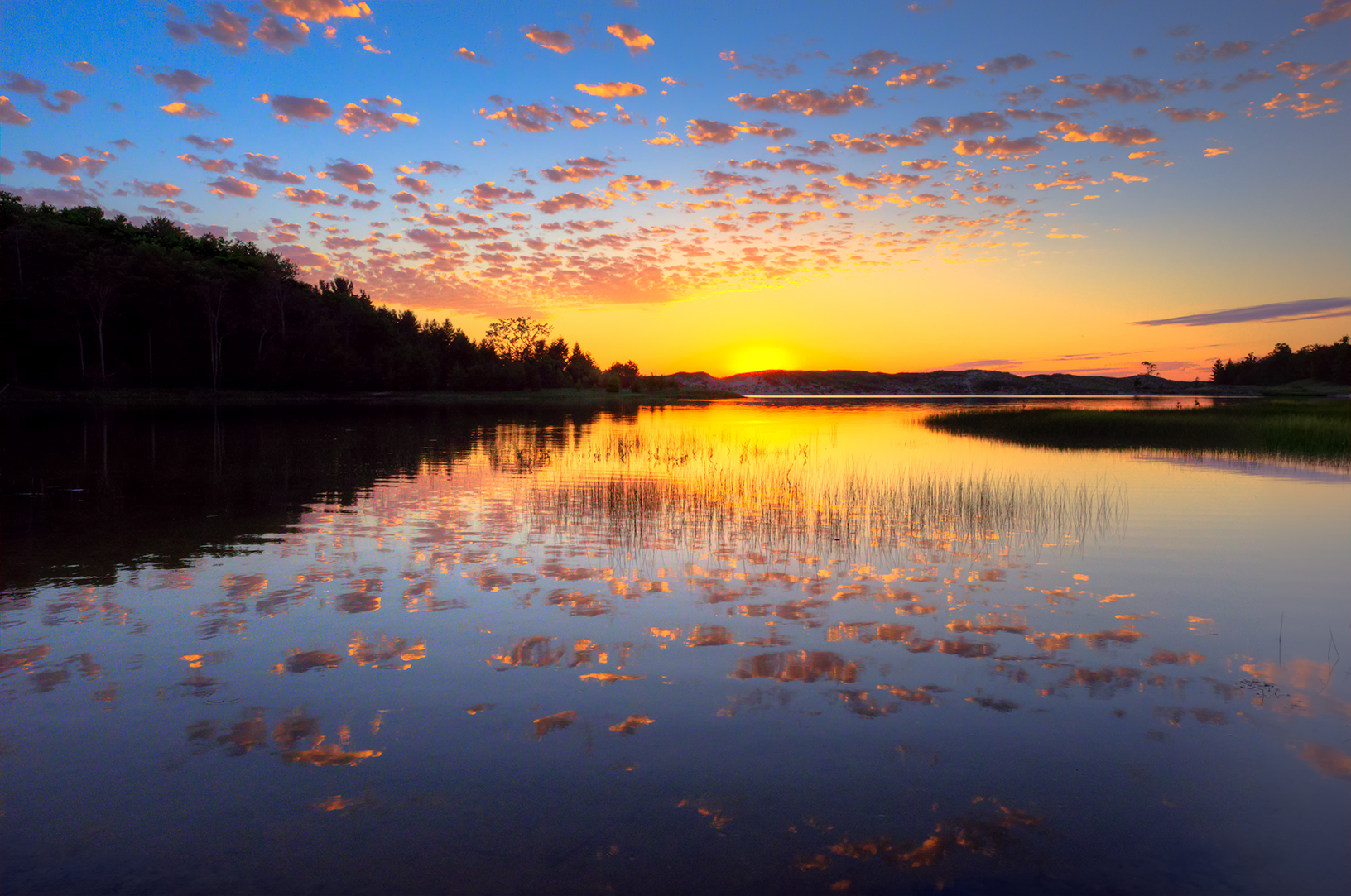 MI16-0677-5836 North Bar Sunset Reflections by Aubrieta V Hope Michigan Scenery.jpg