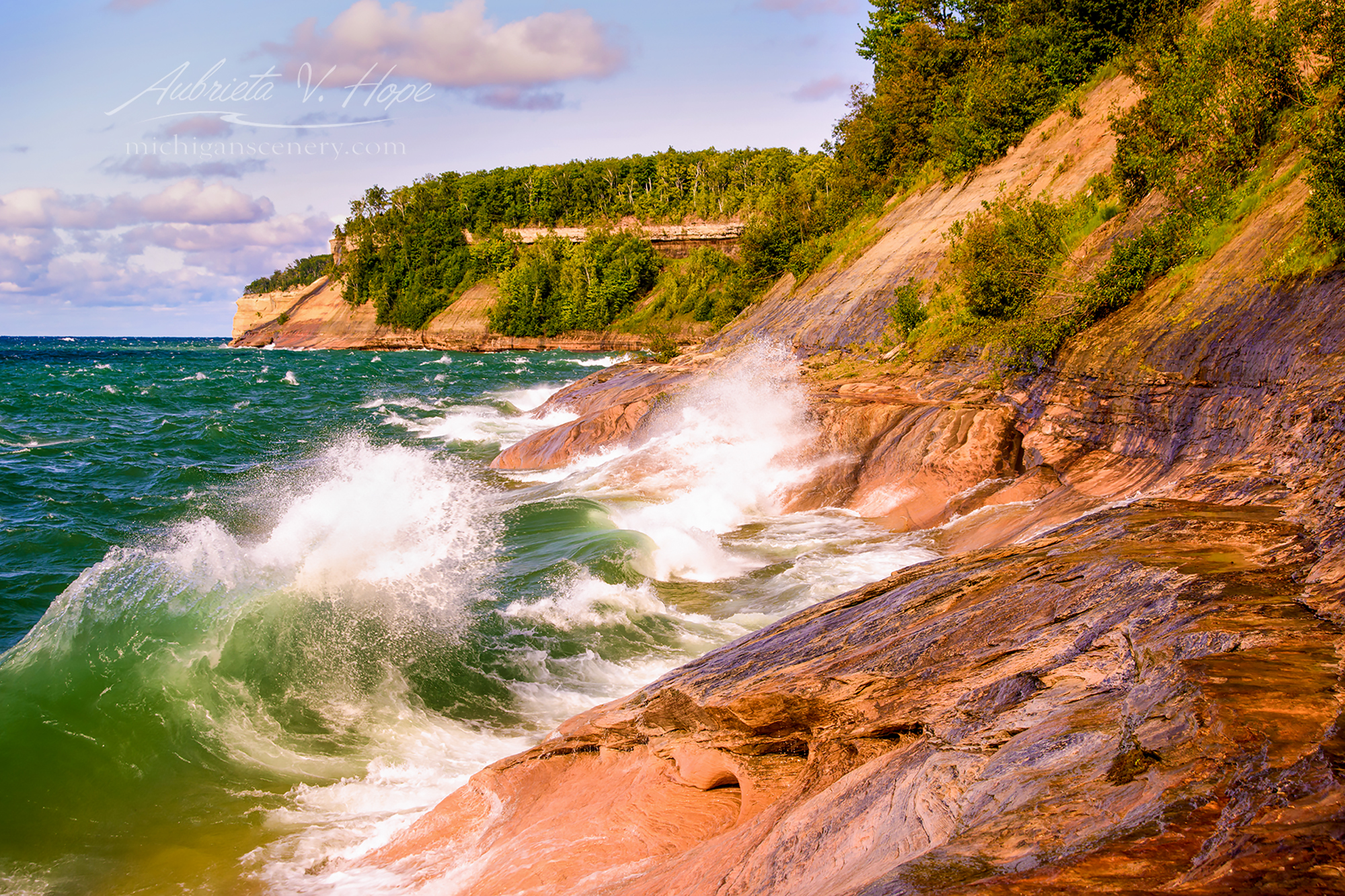 MI17-0974-5938 Crashing Waves at Pictured Rocks NL by Aubrieta V Hope Michigan Scenery.jpg
