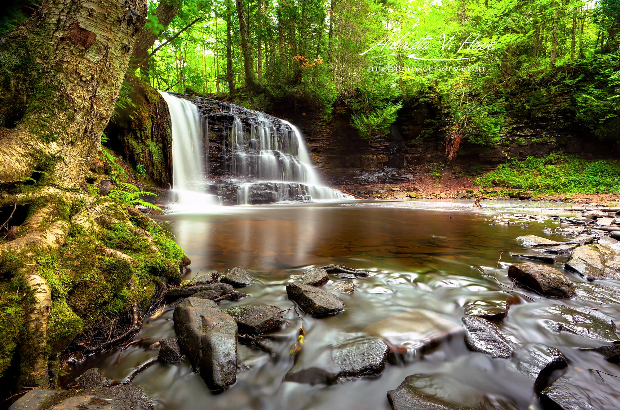 MI16-0915-3552 Rock River Falls in Summer by Aubrieta V Hope Michigan Scenery.jpg