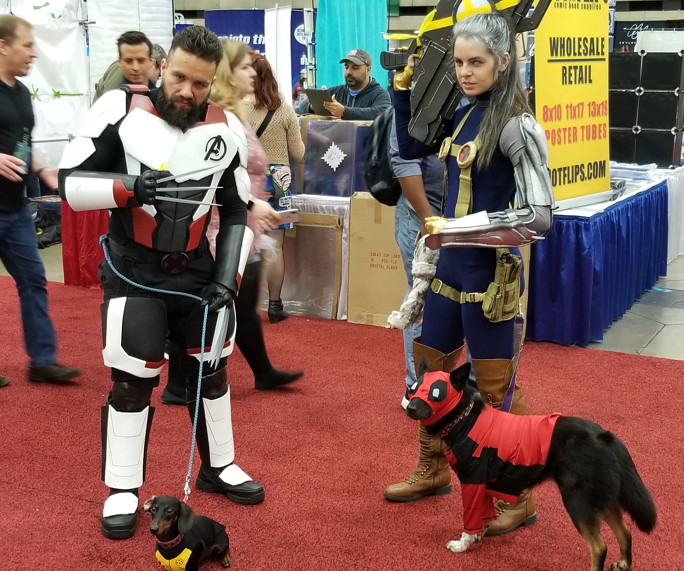 5. Cable, Wolverine, and awww! - Yes, those are cosplaying dogs. Deadpool doggie and Negasausage. Just, so cute. Squee!