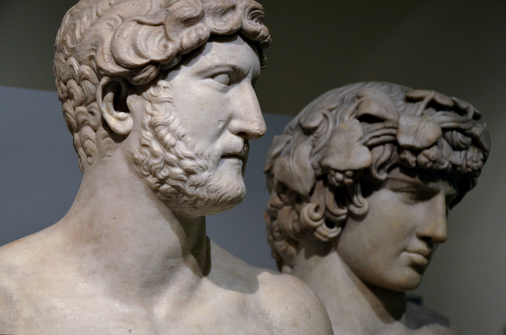 Marble busts of Hadrian and Antinous.    Photo by Carole Raddato   .