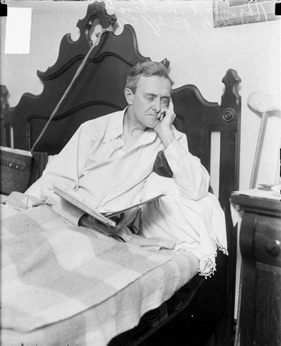 Charles Hitchcock in bed supporting his alibi