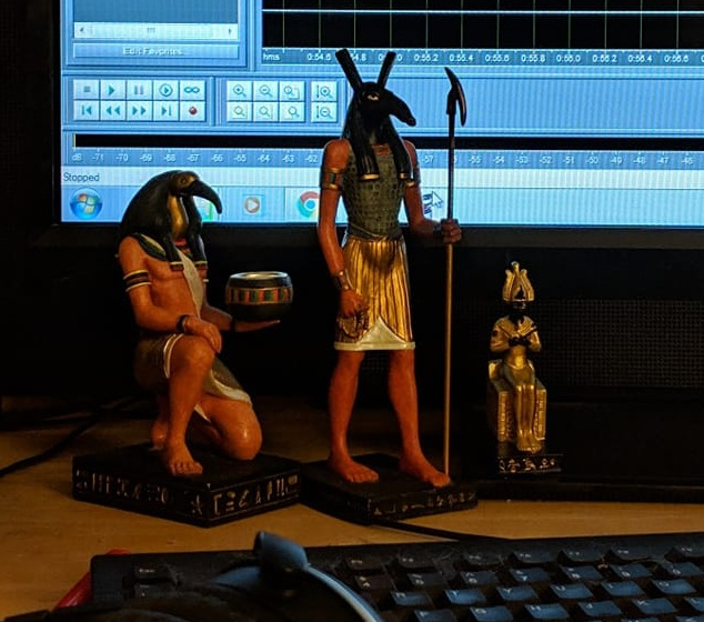 The God statues from our reaction segment. From left to right: Djehuty (with the Booty), Set, and Wesir.