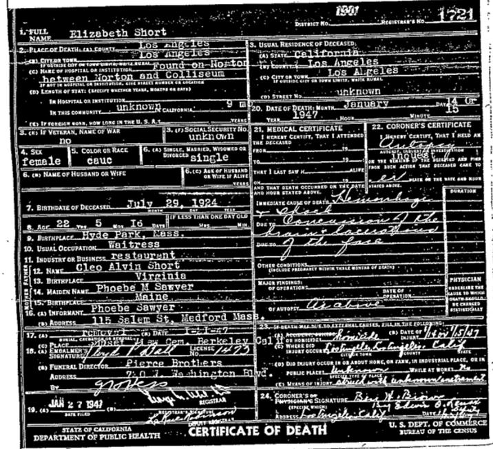Elizabeth Shorts Death Certificate
