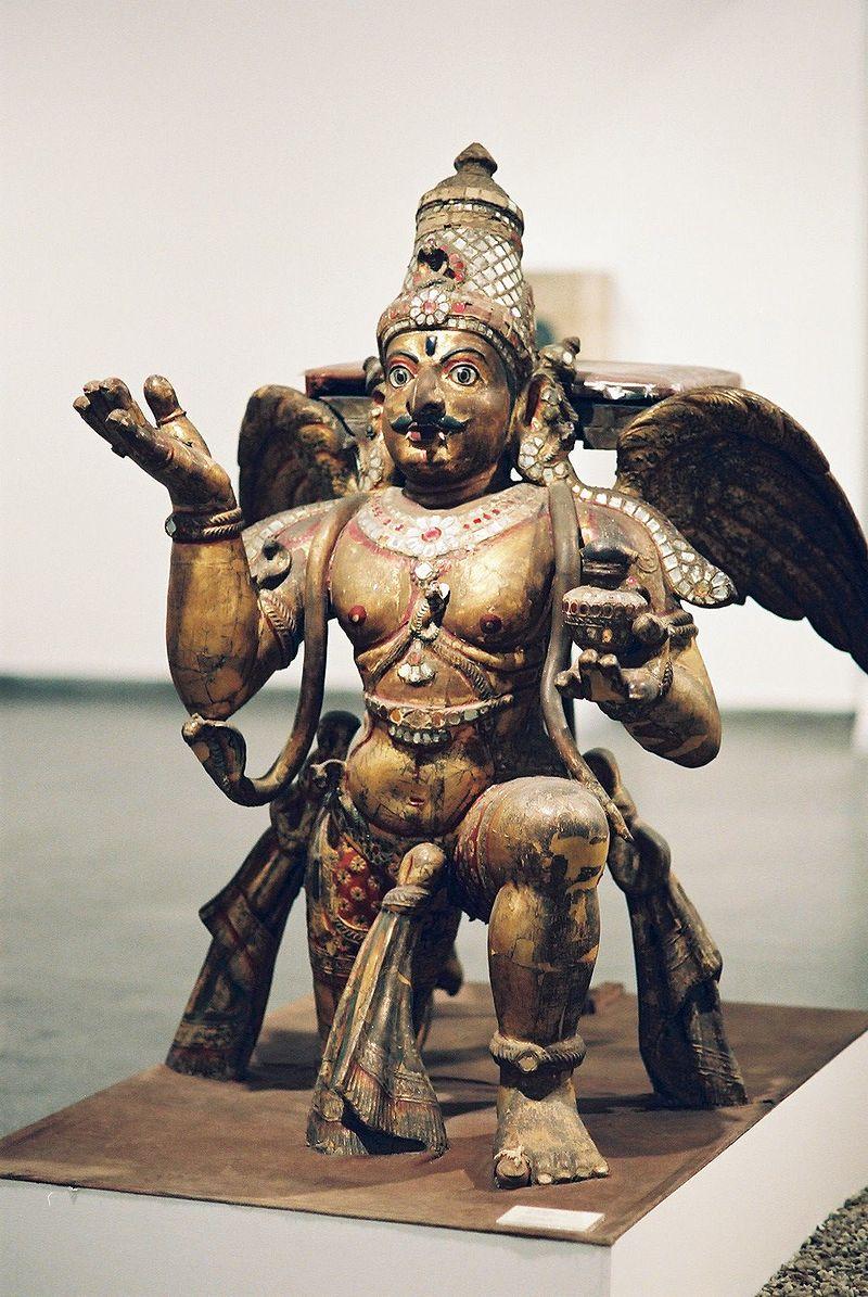 The bird king, Garuda, who flies the pot holding the Amrita away from the battlefield.
