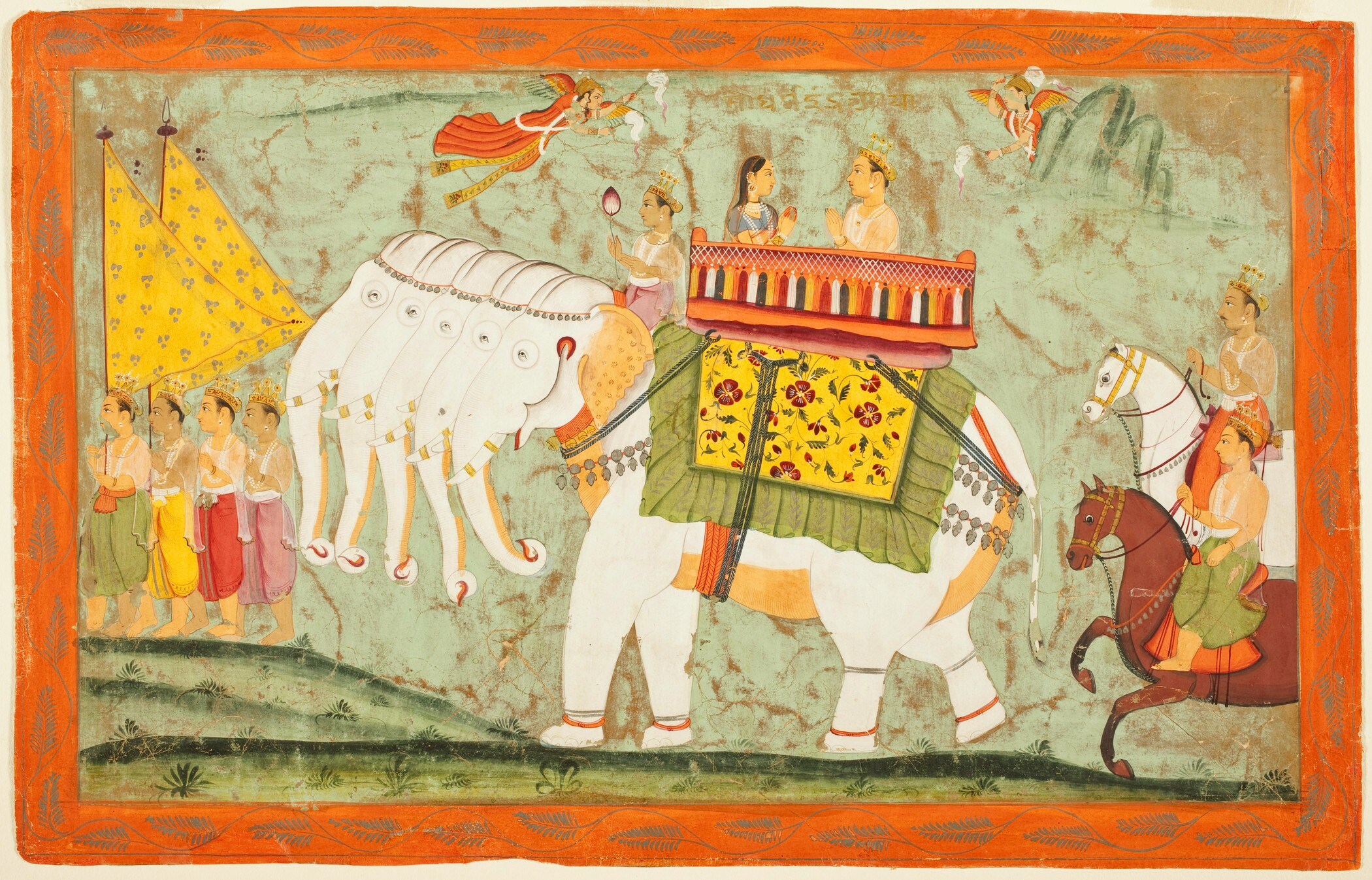 Lord Indra riding atop the Elephant Airavata, who is spotless white, and has five trunks and ten tusks.