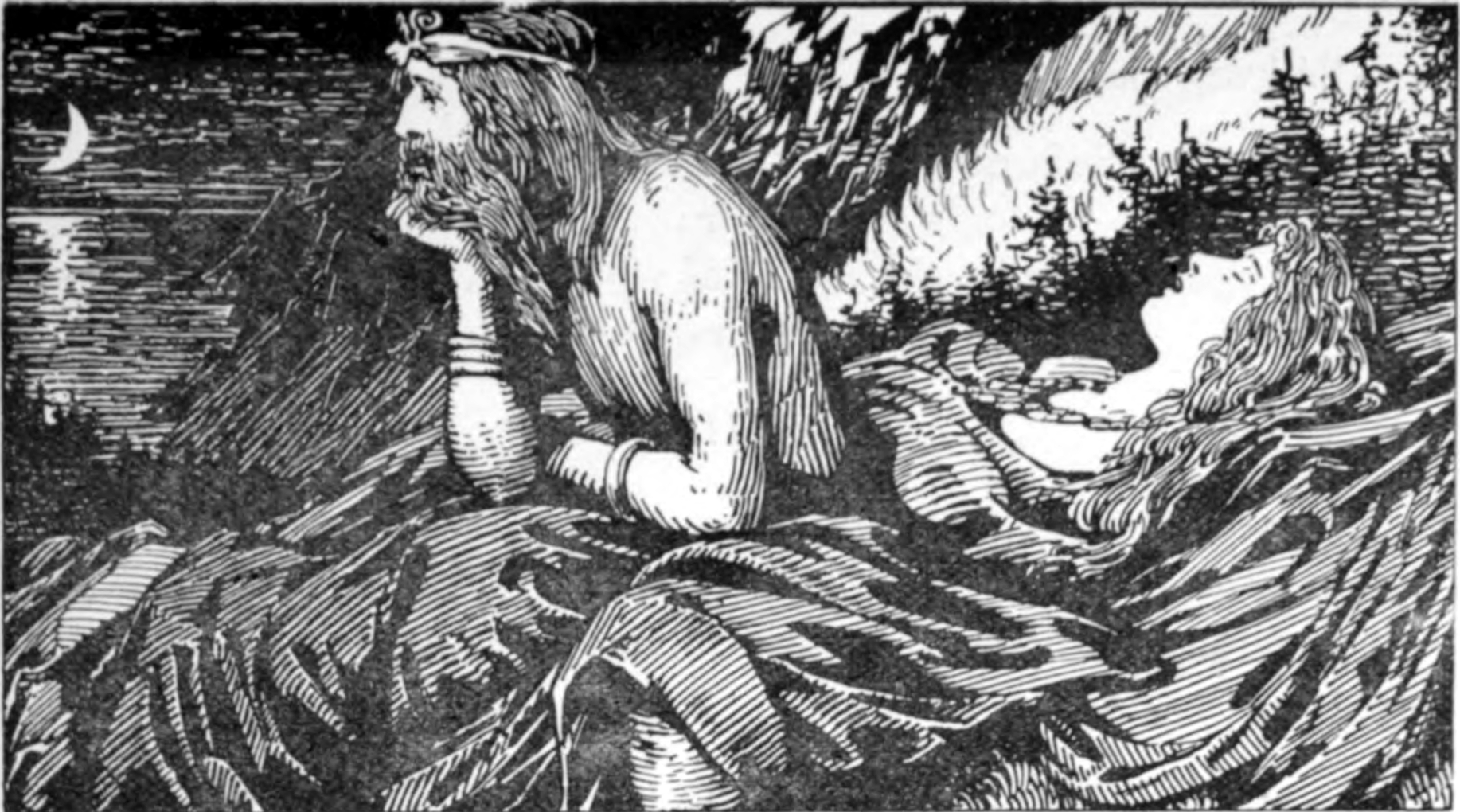 By W.G. Collingwood (1854 - 1932) - The Elder or Poetic Edda; commonly known as Sæmund's Edda. Edited and translated with introduction and notes by Olive Bray. Illustrated by W.G. Collingwood (1908) Page 271. Digitized by the Internet Archive and available from https://archive.org/details/elderorpoeticedd01brayuoft This image was made from the JPEG 2000 image of the relevant page via image processing (crop, rotate, color-levels, mode) with the GIMP by User:Haukurth. The image processing is probably not eligible for copyright but in case it is User:Haukurth releases his modified version into the public domain., Public Domain, https://commons.wikimedia.org/w/index.php?curid=4589553