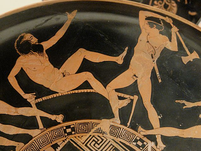Theseus giving Procrustes a taste of his own medicine. © Marie-Lan Nguyen / Wikimedia Commons