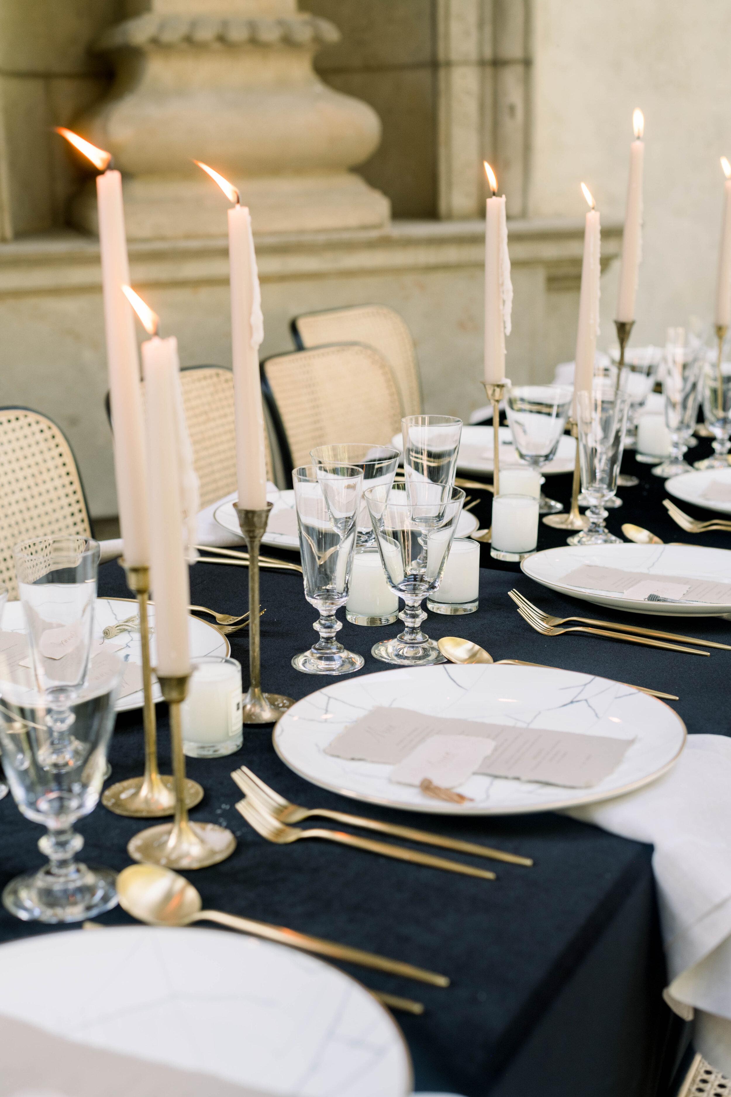 fine art wedding, Atlanta wedding, swan house wedding, modern wedding, rolls Royce wedding, swan house, high neck wedding dress, white tux, black tablecloth, wedding candles