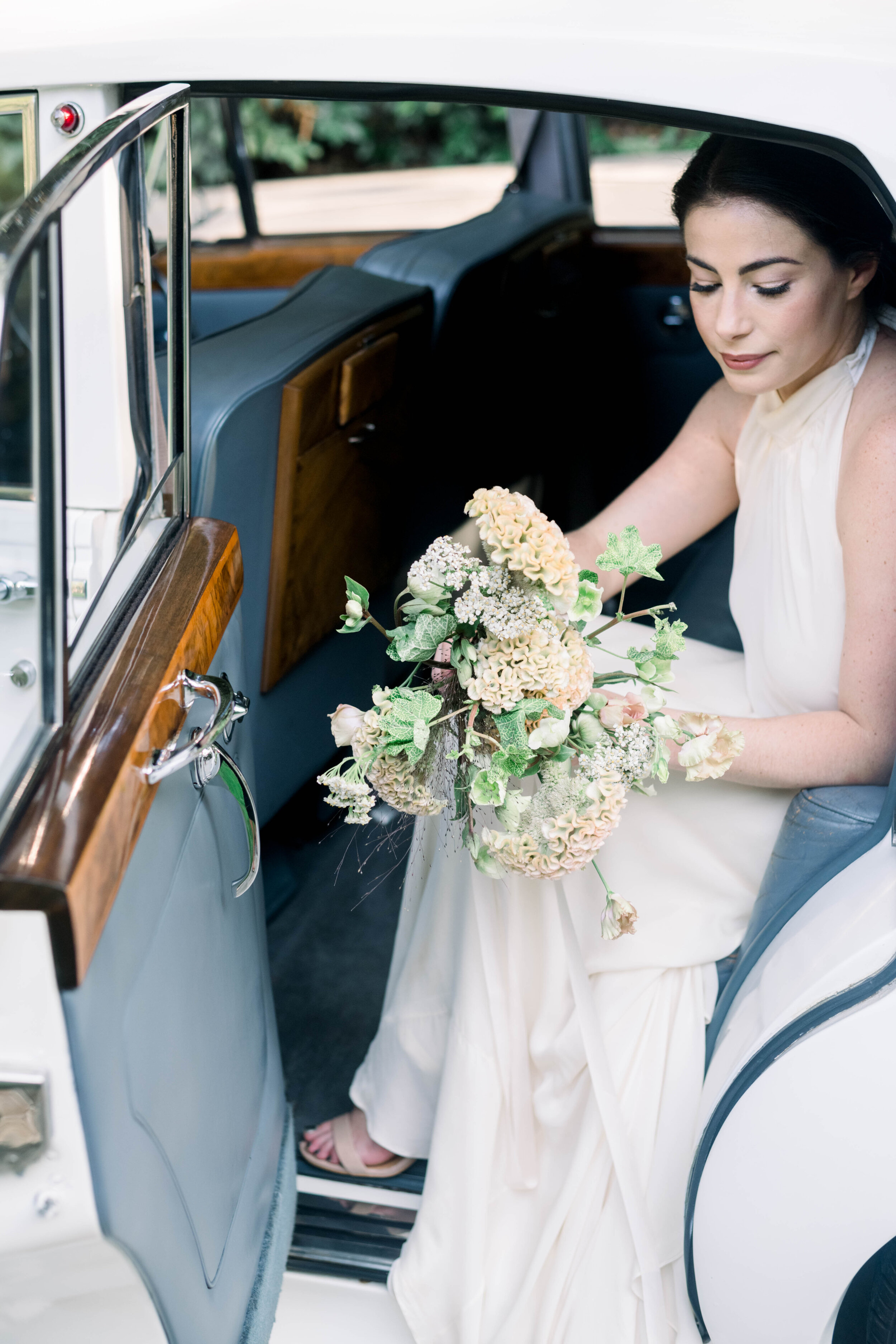 fine art wedding, Atlanta wedding, swan house wedding, modern wedding, rolls Royce wedding, swan house, high neck wedding dress, white tux
