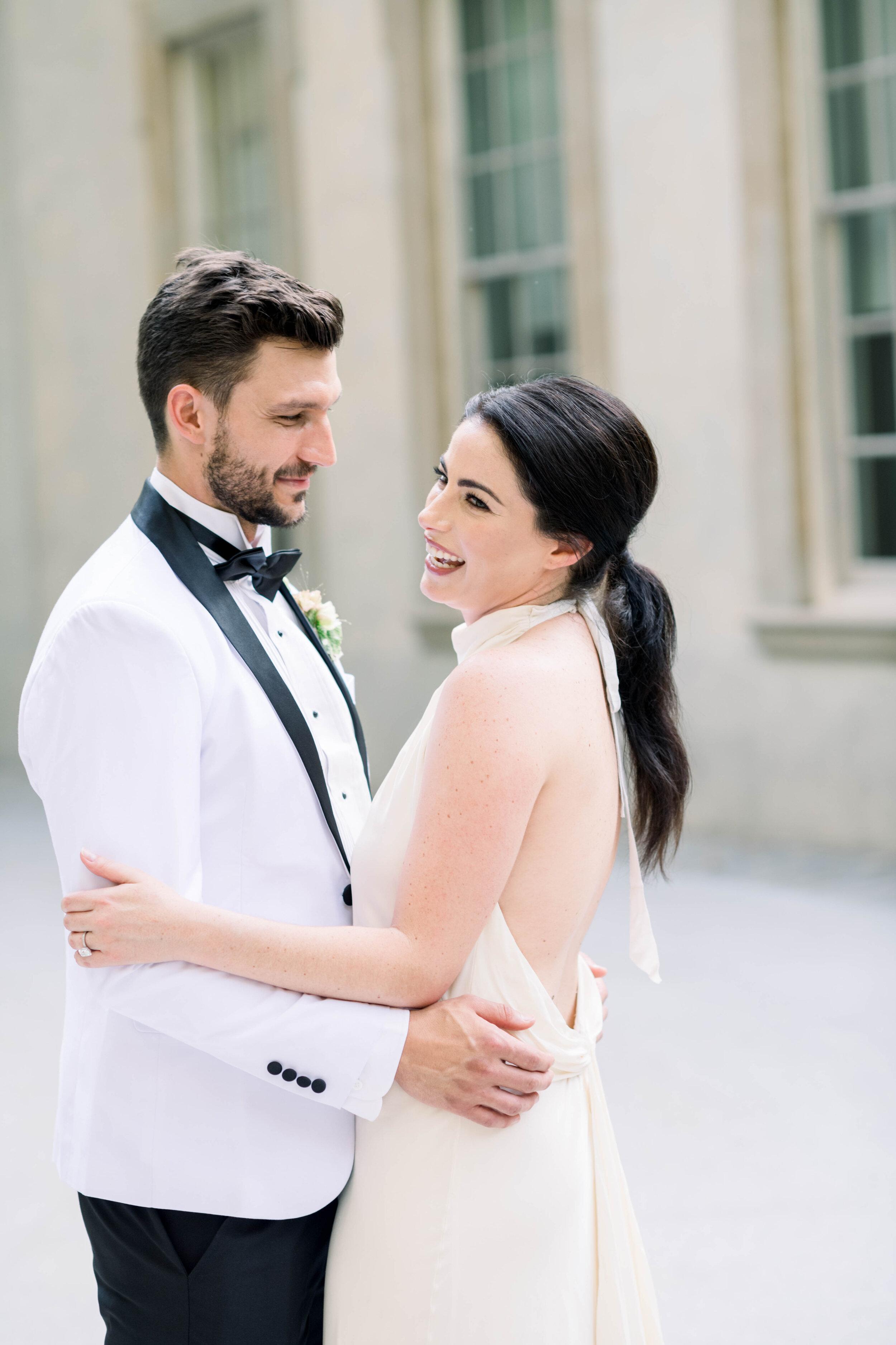 fine art wedding, Atlanta wedding, swan house wedding, modern wedding, rolls Royce wedding, swan house, high neck wedding dress, white tux, wedding dance