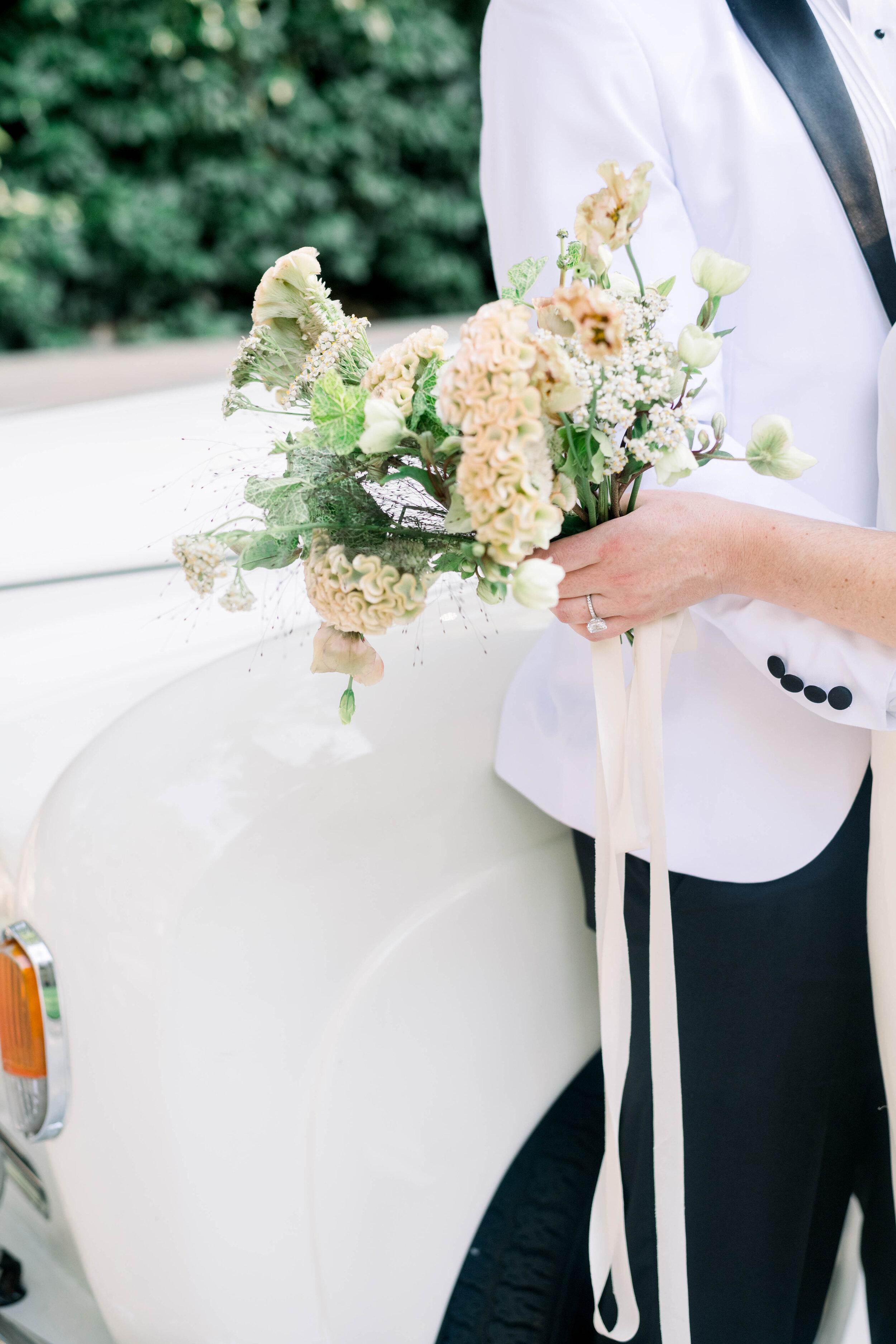 fine art wedding, Atlanta wedding, swan house wedding, modern wedding, rolls Royce wedding, swan house, high neck wedding dress, white tux, wedding bouquet