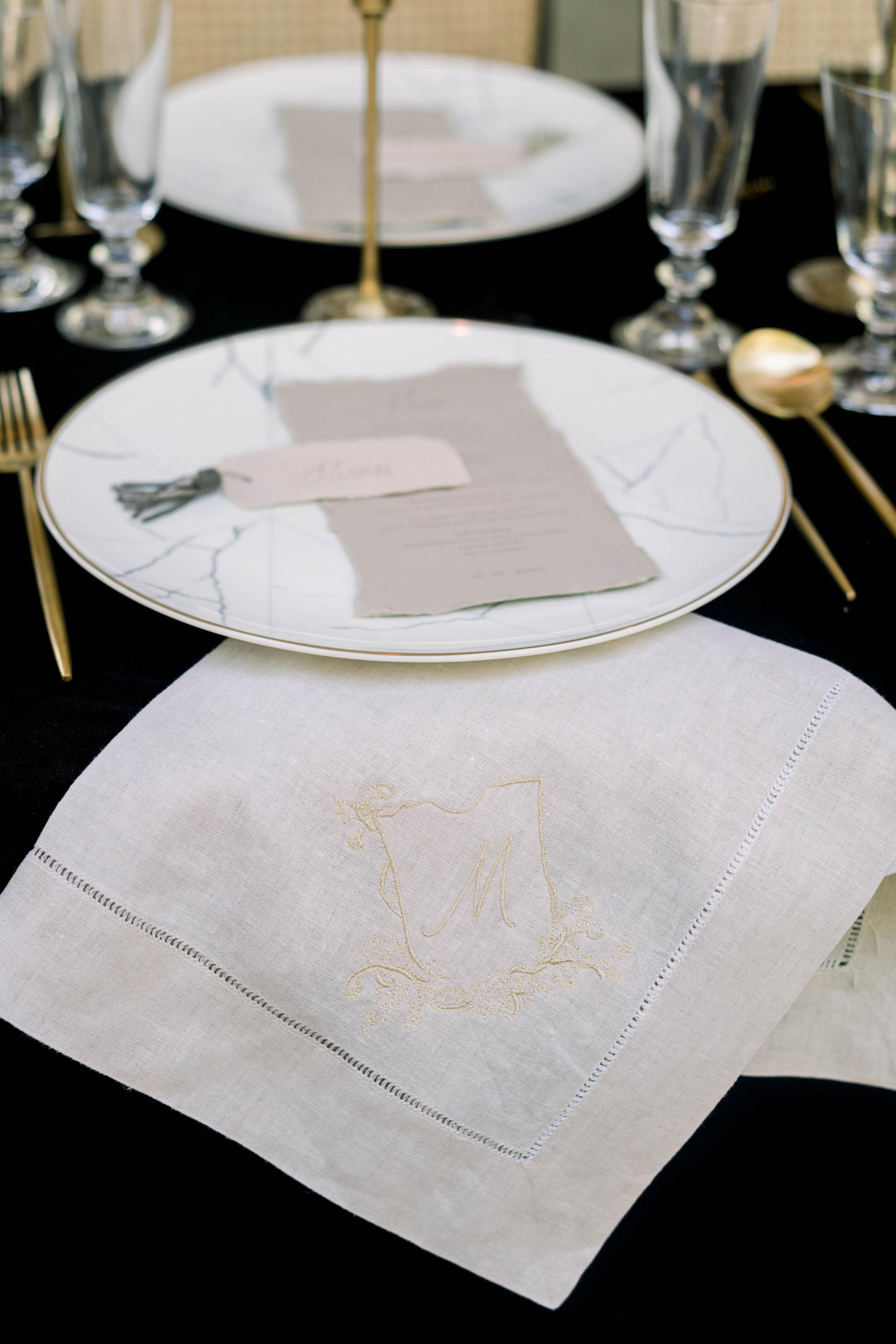 fine art wedding, Atlanta wedding, swan house wedding, modern wedding, rolls Royce wedding, swan house, high neck wedding dress, white tux, custom napkins, black velvet tablecloth