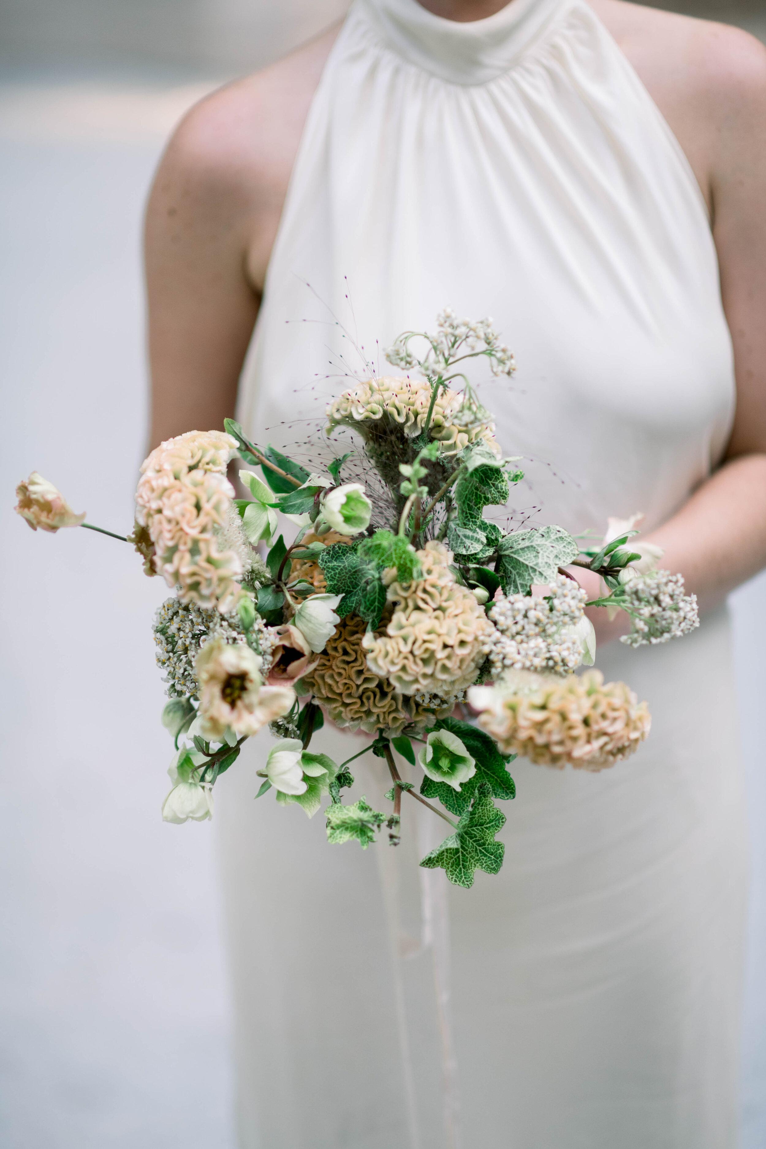 fine art wedding, Atlanta wedding, swan house wedding, modern wedding, rolls Royce wedding, swan house, high neck wedding dress, white tux, bridal bouquet, wedding bouquet