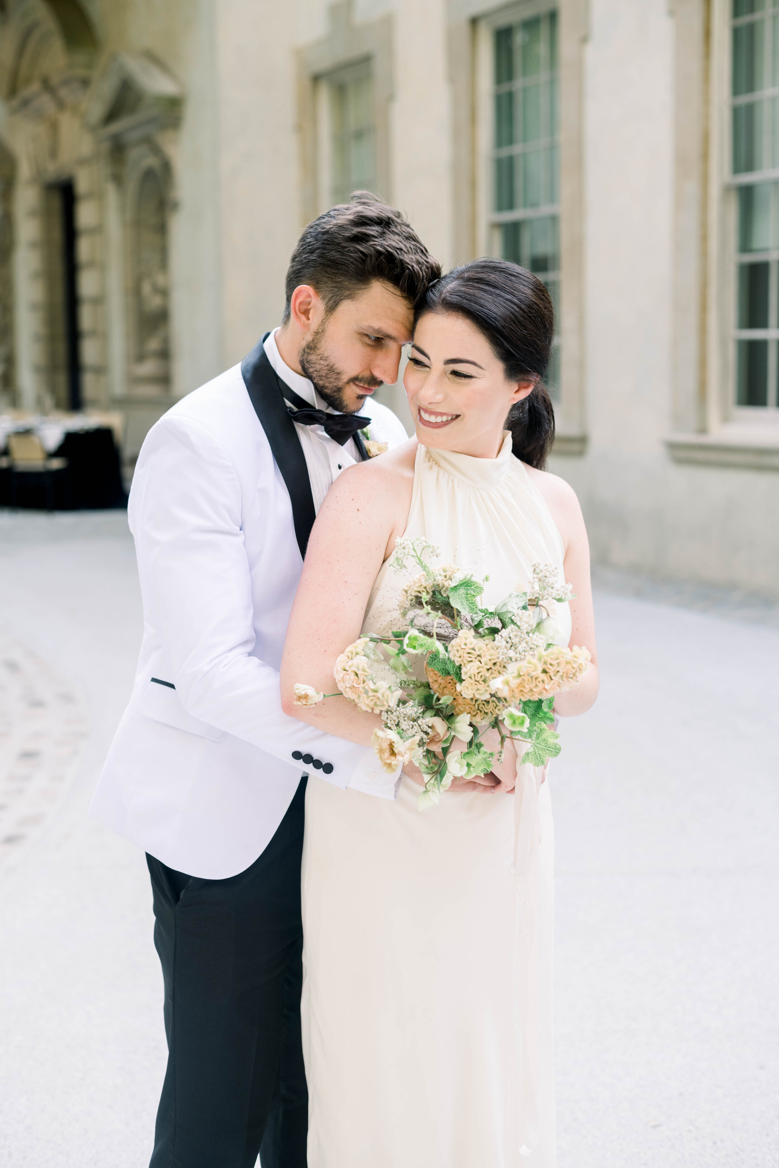 fine art wedding, Atlanta wedding, swan house wedding, modern wedding, rolls Royce wedding, swan house, high neck wedding dress, white tux, first dance