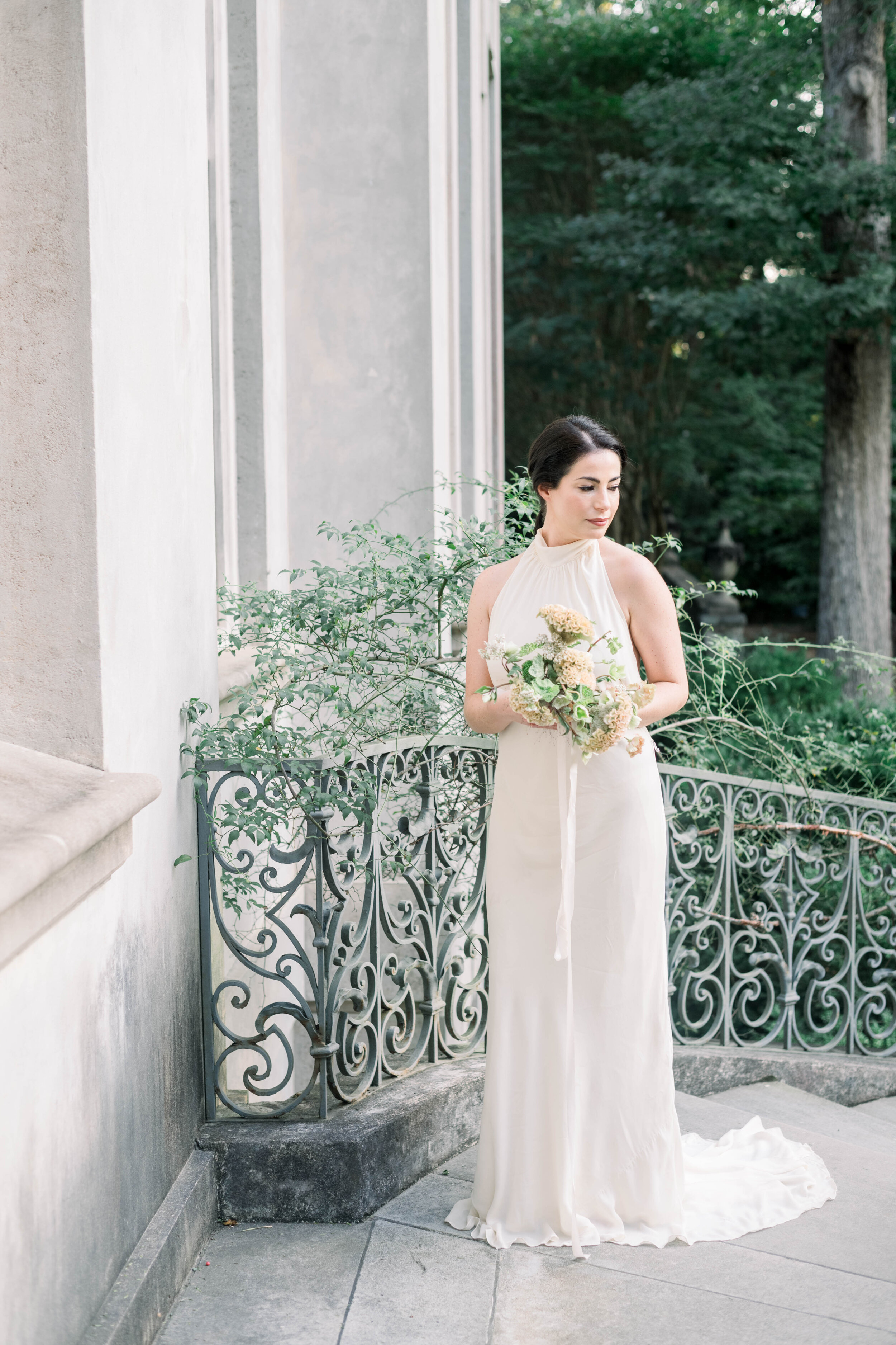 fine art wedding, Atlanta wedding, swan house wedding, modern wedding, rolls Royce wedding, swan house, high neck wedding dress, white tux, bridal portrait